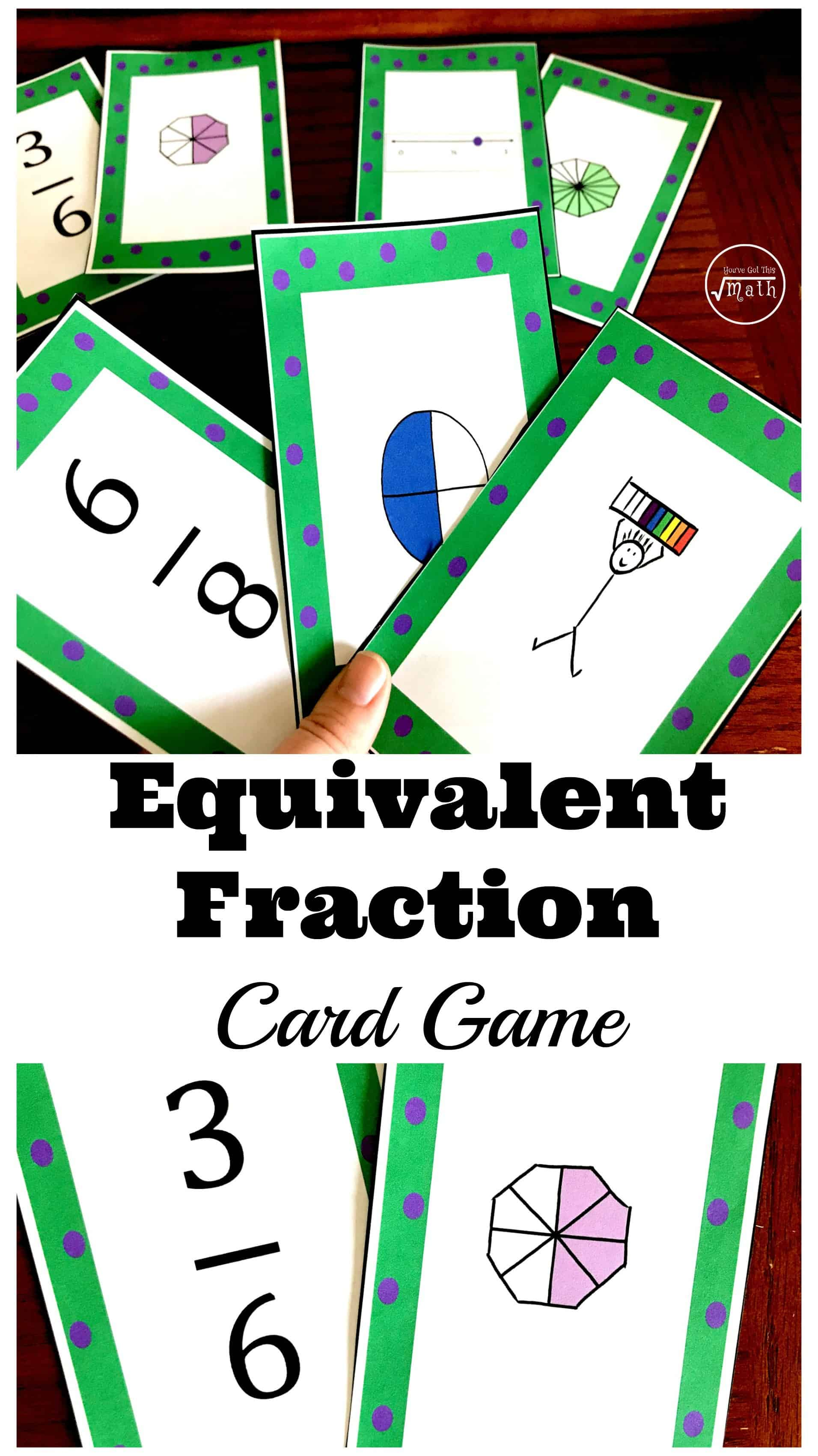 This equivalent fractions card game is a fun way for children to practice equivalent fractions using numbers, models, and number lines.