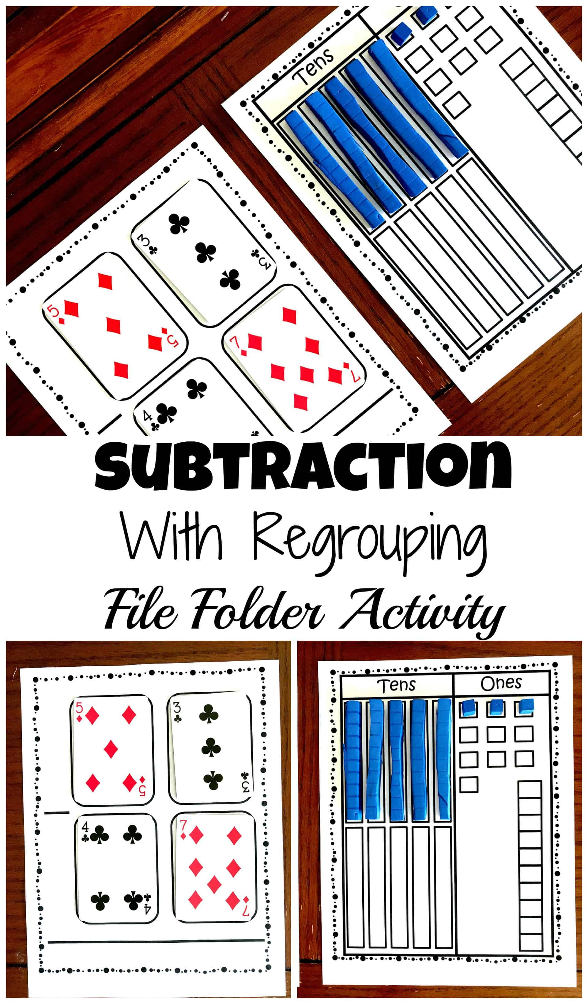 This free subtraction with base ten blocks file folder activity is perfect for teaching children how to subtract in a hand -on way.