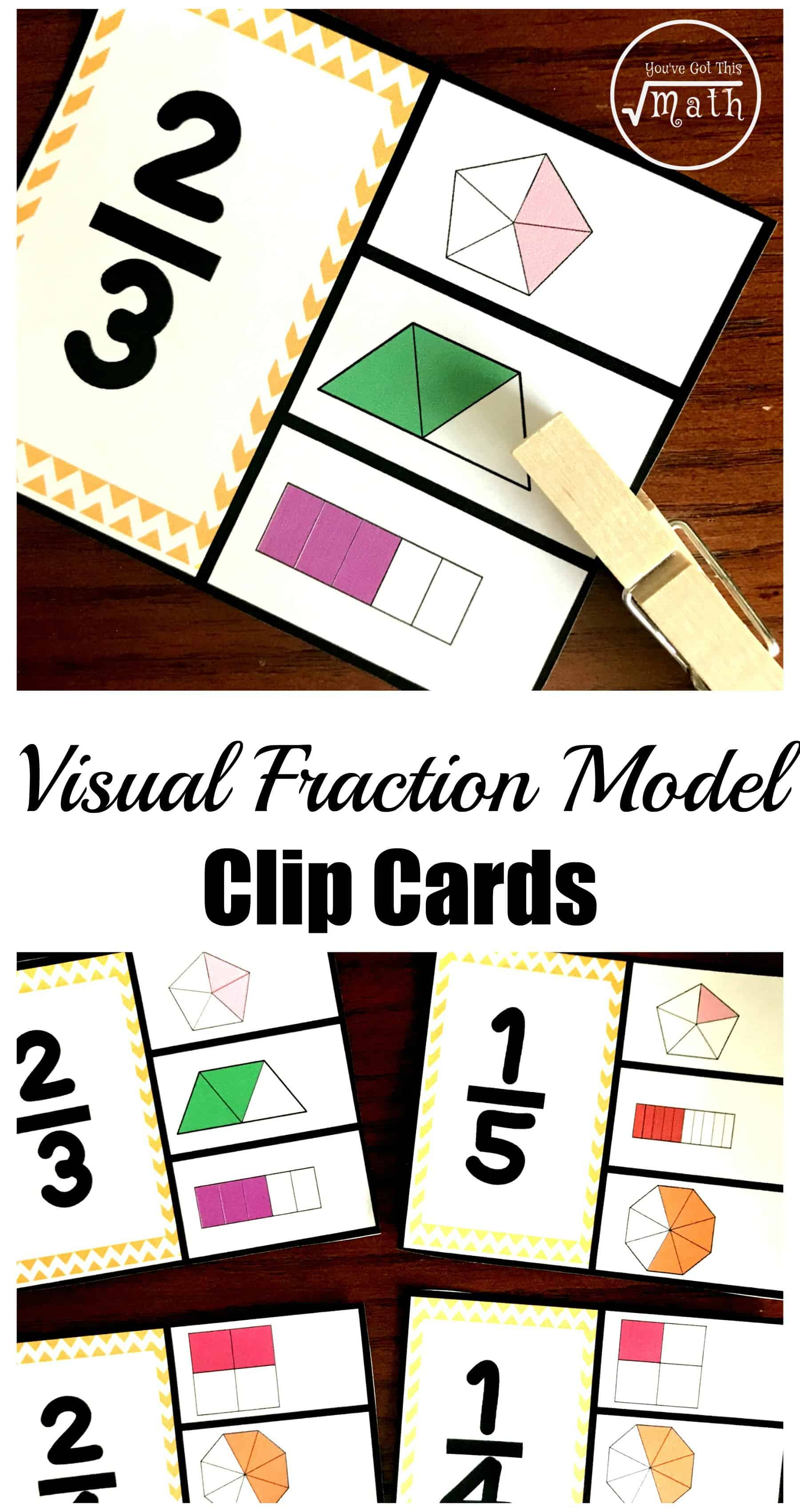 These free visual fraction model clip cards are a great way to assess children's knowledge of fractions, numerators, denominators, and their fraction sense.