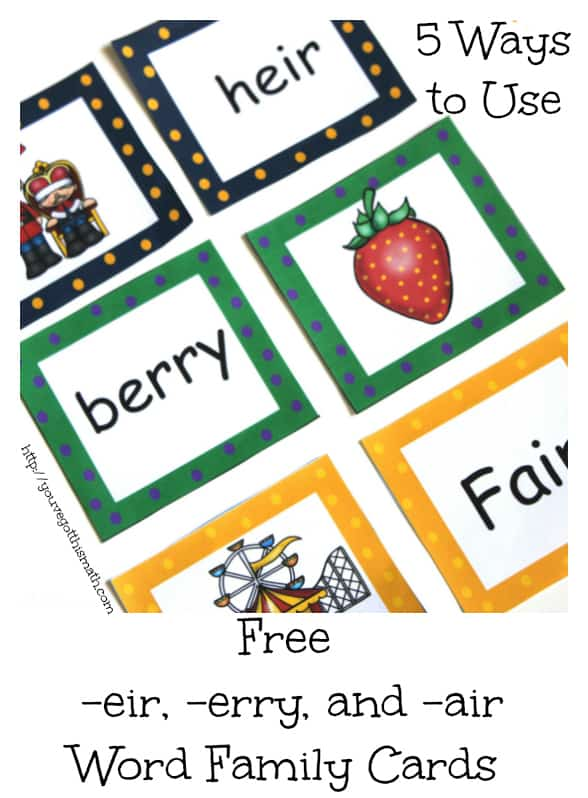 Free word family cards for erry eir and air for Another word for air