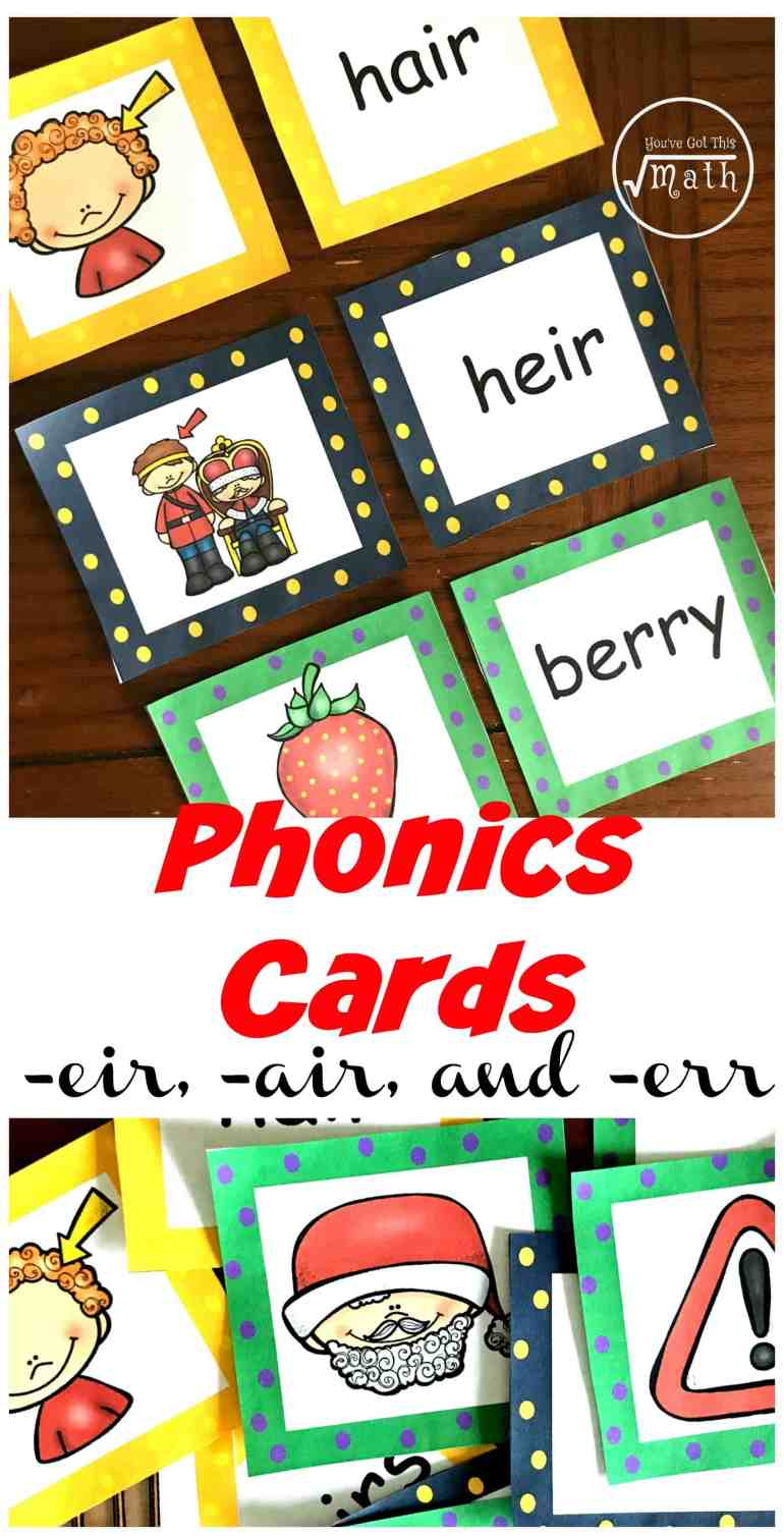 Grab these err, eir, and air word family cards. There are over five ways to use these bright, colorful cards that will get kids reading and spelling these tricky words.