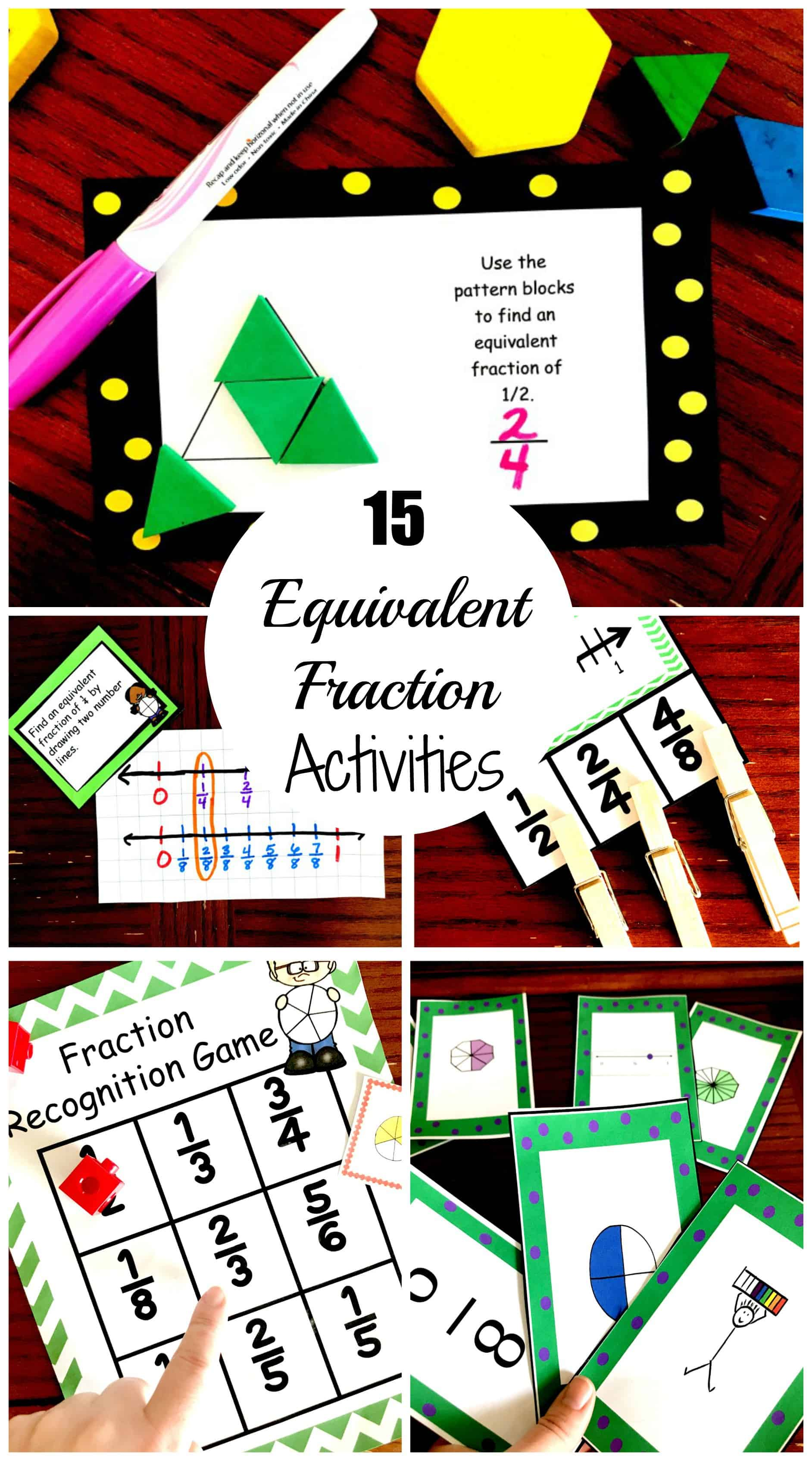 This is a picture of Equivalent Fractions Games Printable with beginner