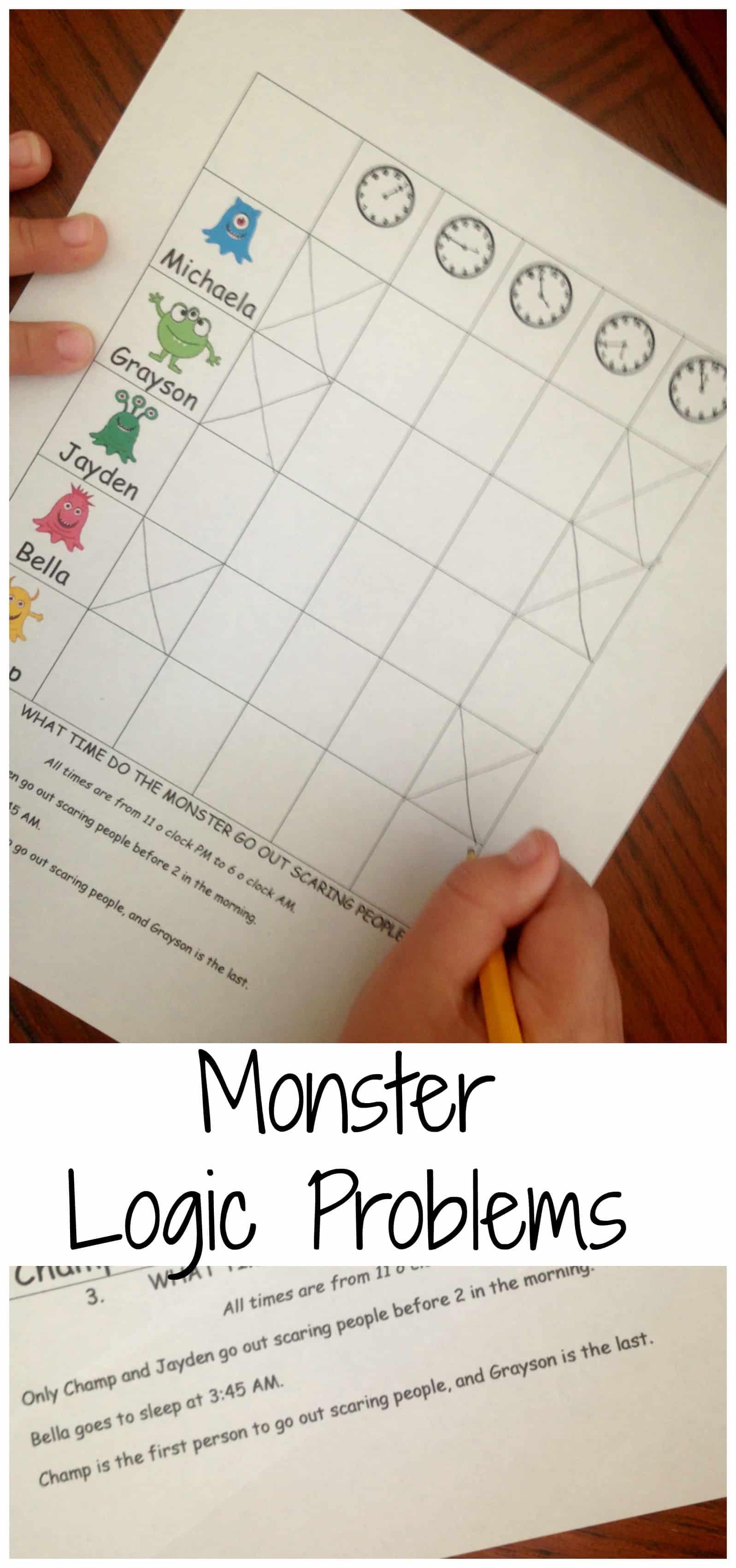 monster logic problems pinterest