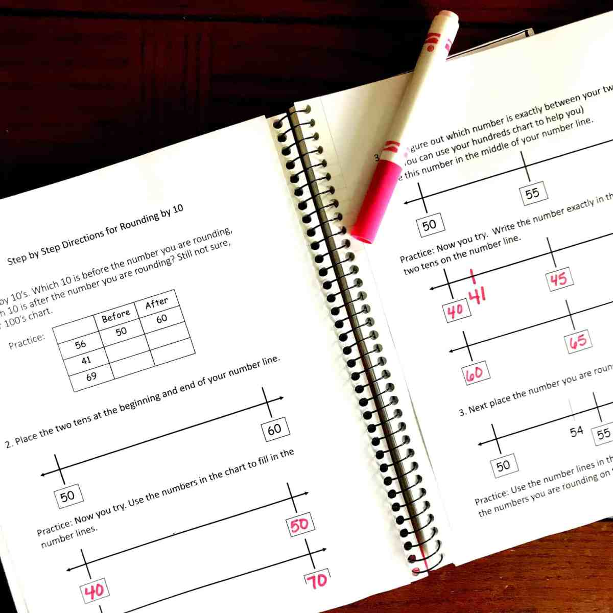 3 Interactive Notebook Activities For Rounding to Ten With Number Lines