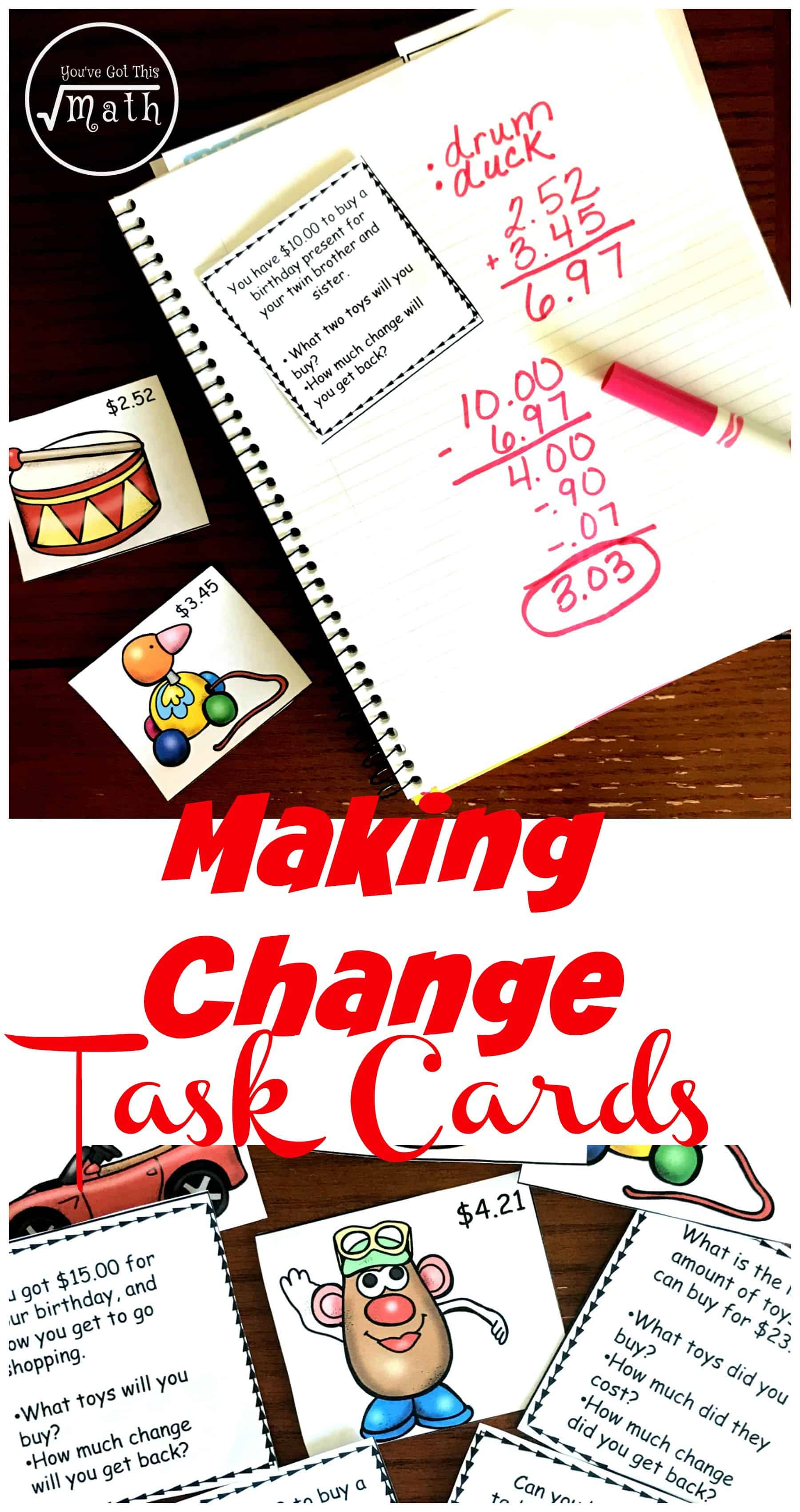 Do your children struggle to figure out how to make change? Check out these counting change worksheets or task cards that allow children to practice this skill.