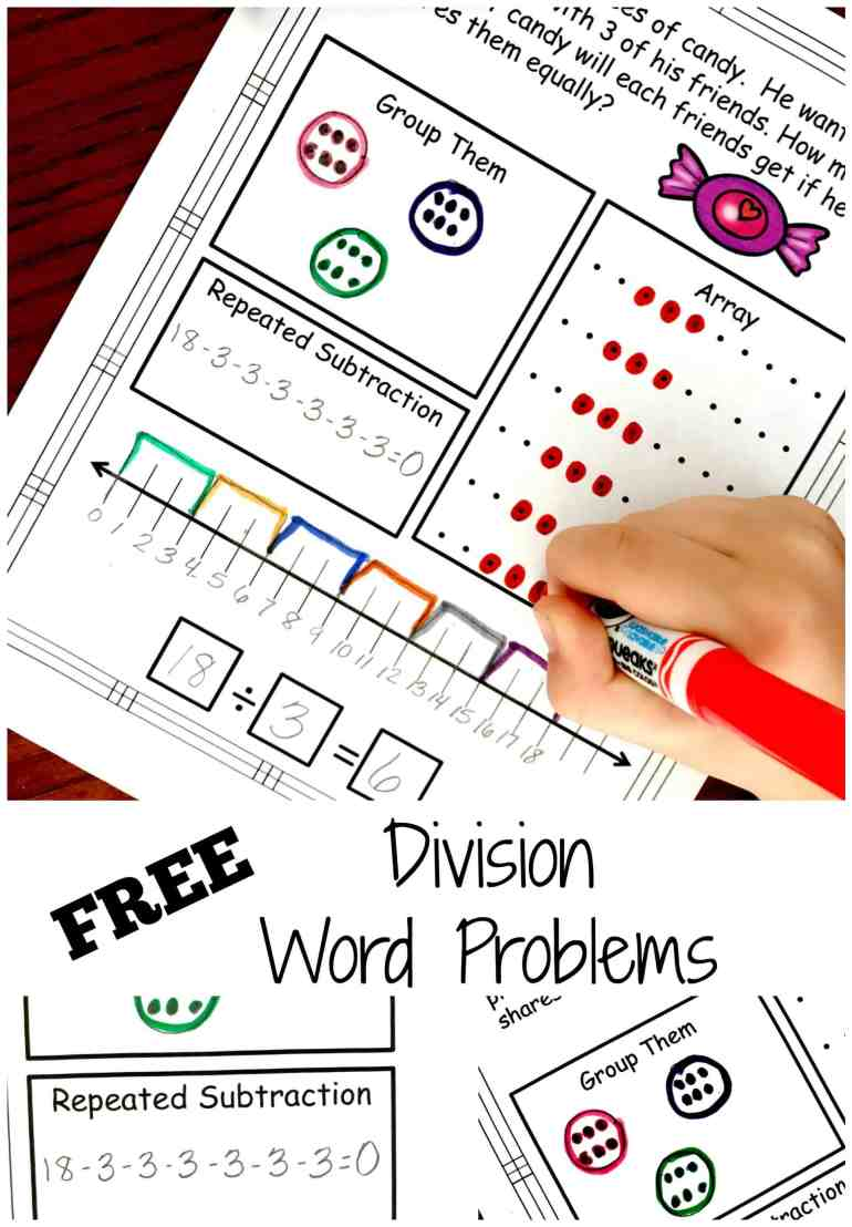 Division Problem Solving with Five Ways to Solve...FREE Worksheets