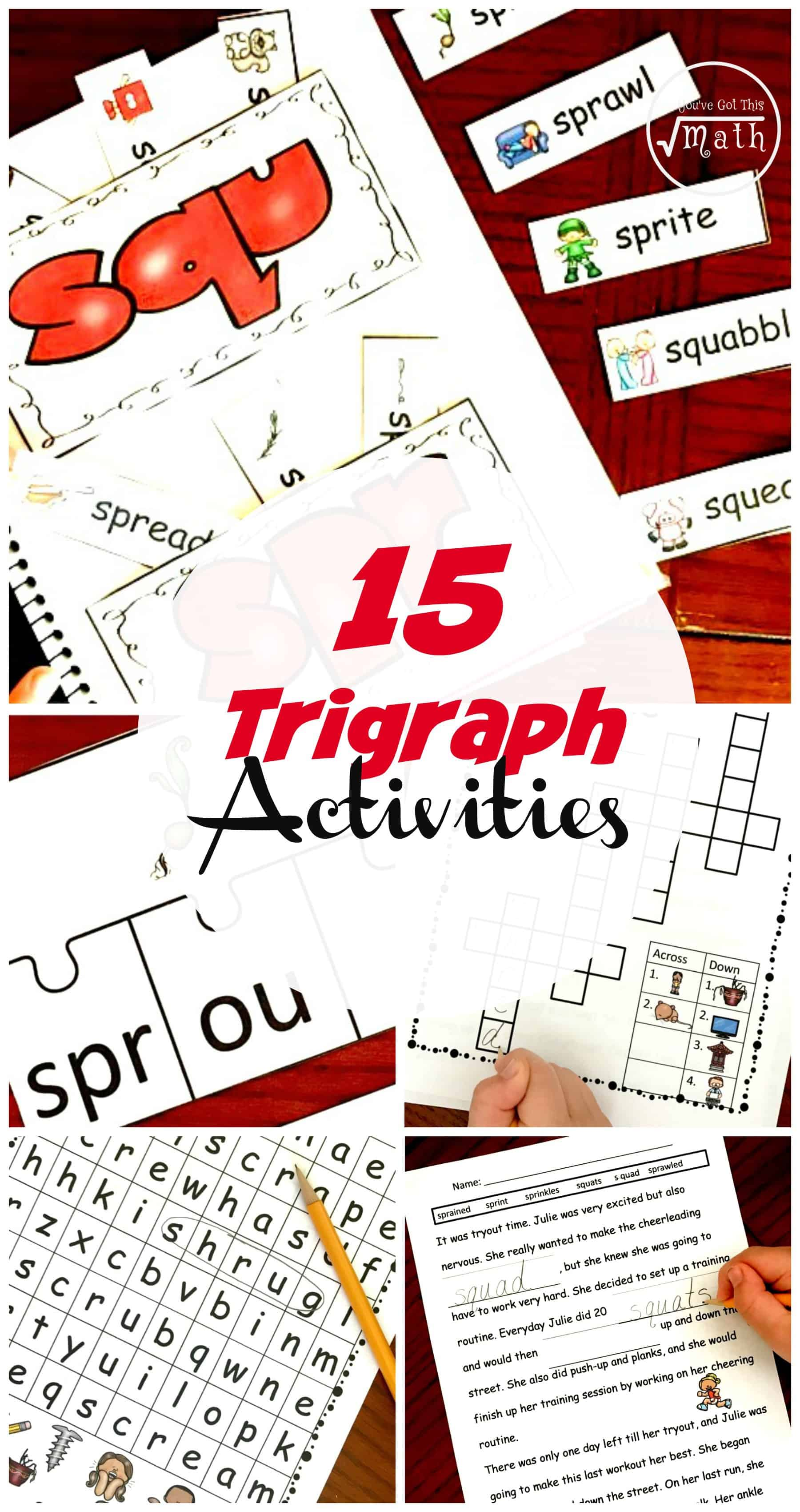 Ready to teach trigraphs? Check out these 15 hands-on and fun trigraph activities to help your students learn shr, scr, spr, sqr, str, and thr trigraphs or consonant clusters.