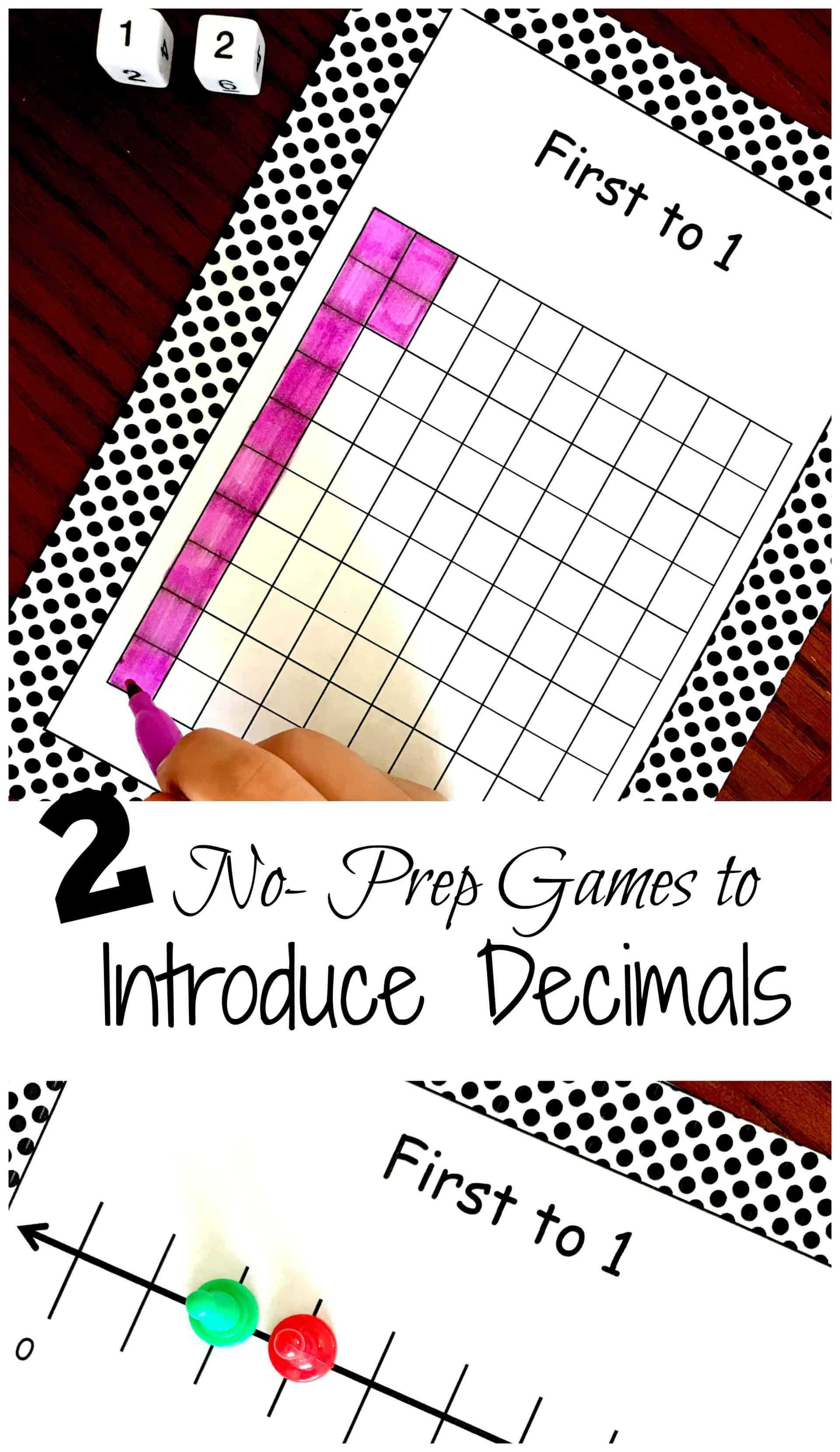 Are you about to start a decimal unit? These no-prep printable decimal games are a great way to introduce modeling decimals in a fun, hands-on way.