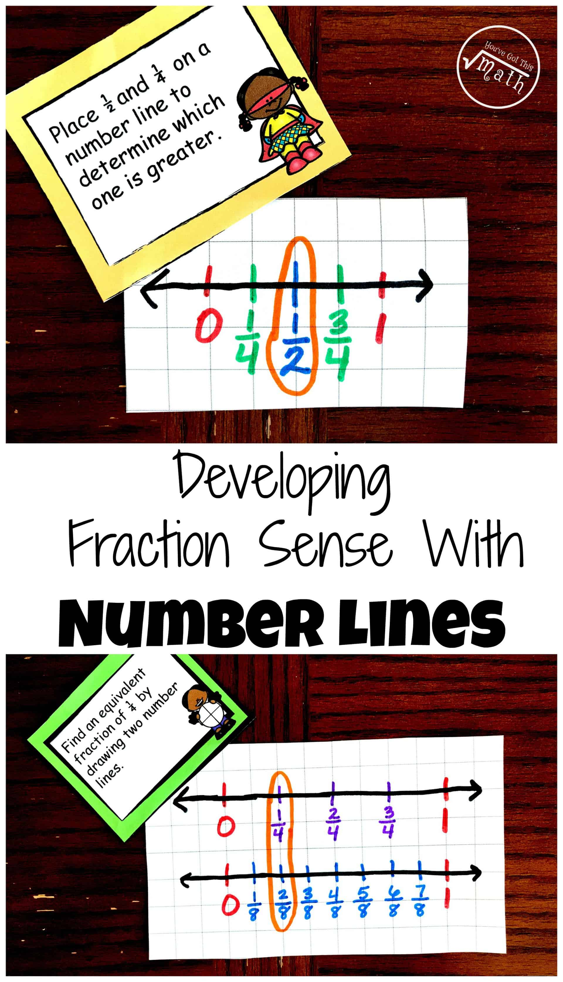 Teaching fractions on a number line? Grab this free printable that challenges students draw number lines to help them Develop Fraction Sense Using Number Lines.
