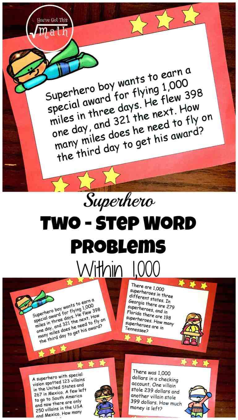 12 Free Superhero Two Step Word Problems Worksheets Or Task Cards