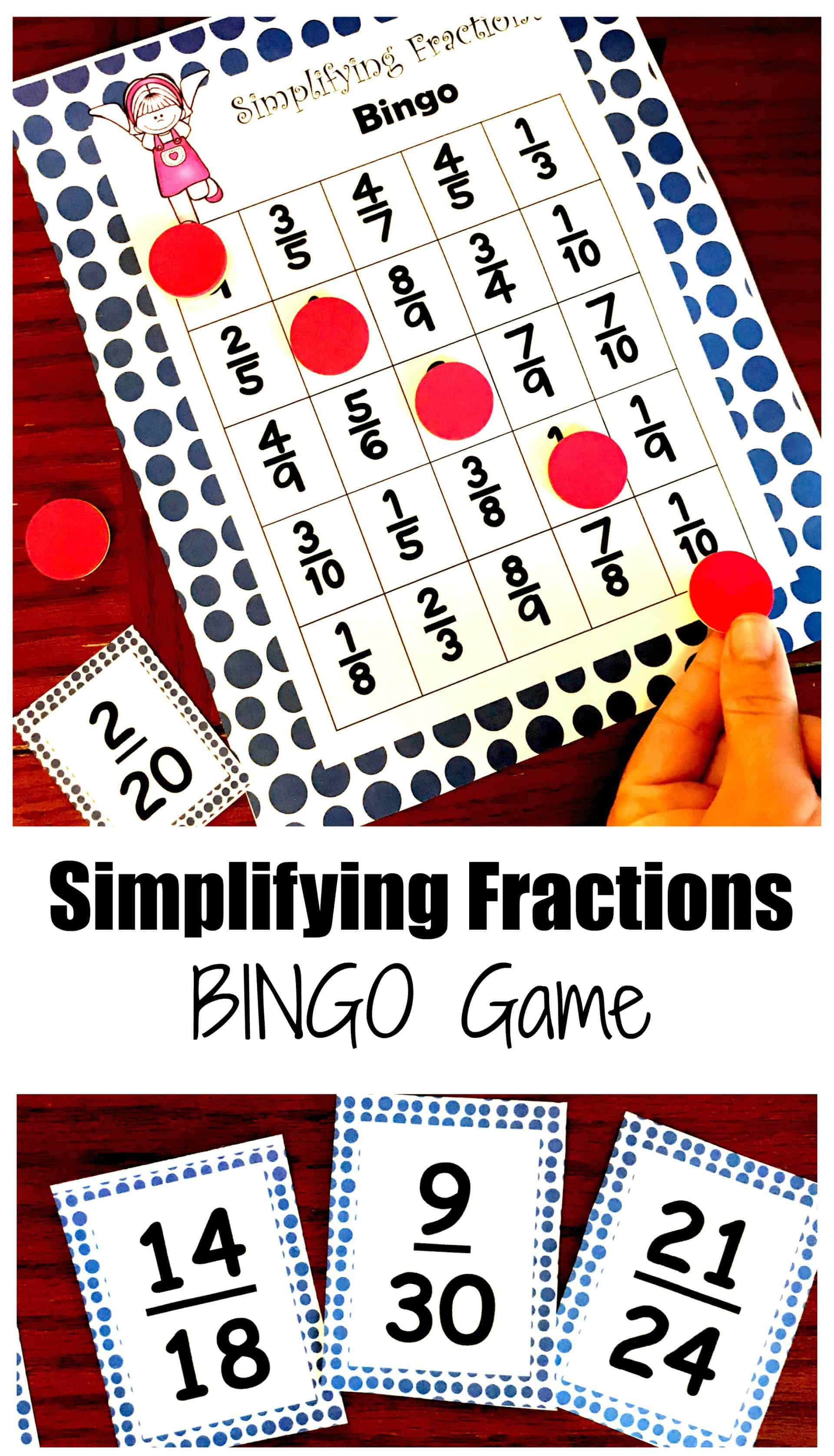 free simplifying fractions bingo game