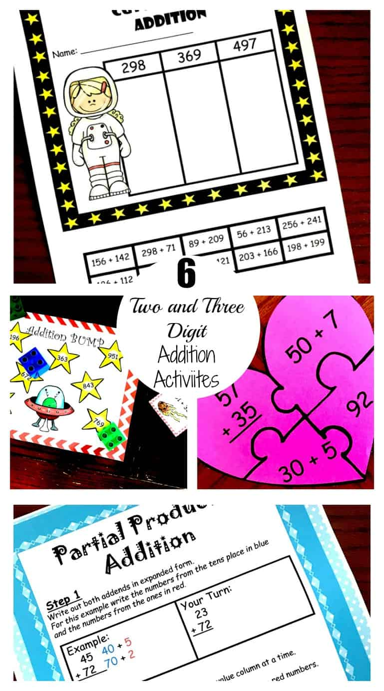 6 two and three digit addition activities