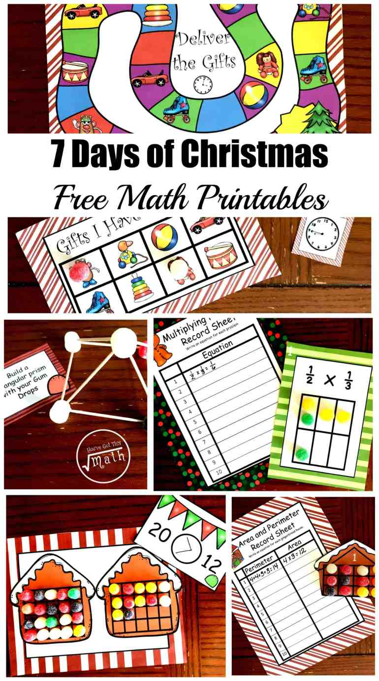 Seven Days Of Free Christmas Math Printables For K 5th Grade