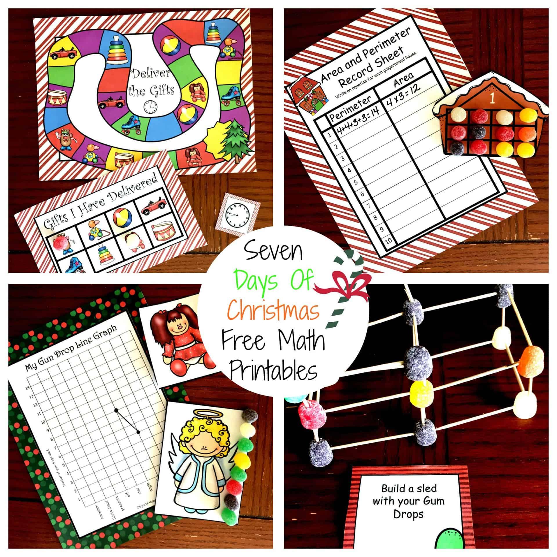 Seven Days Of Free Christmas Math Printables For K