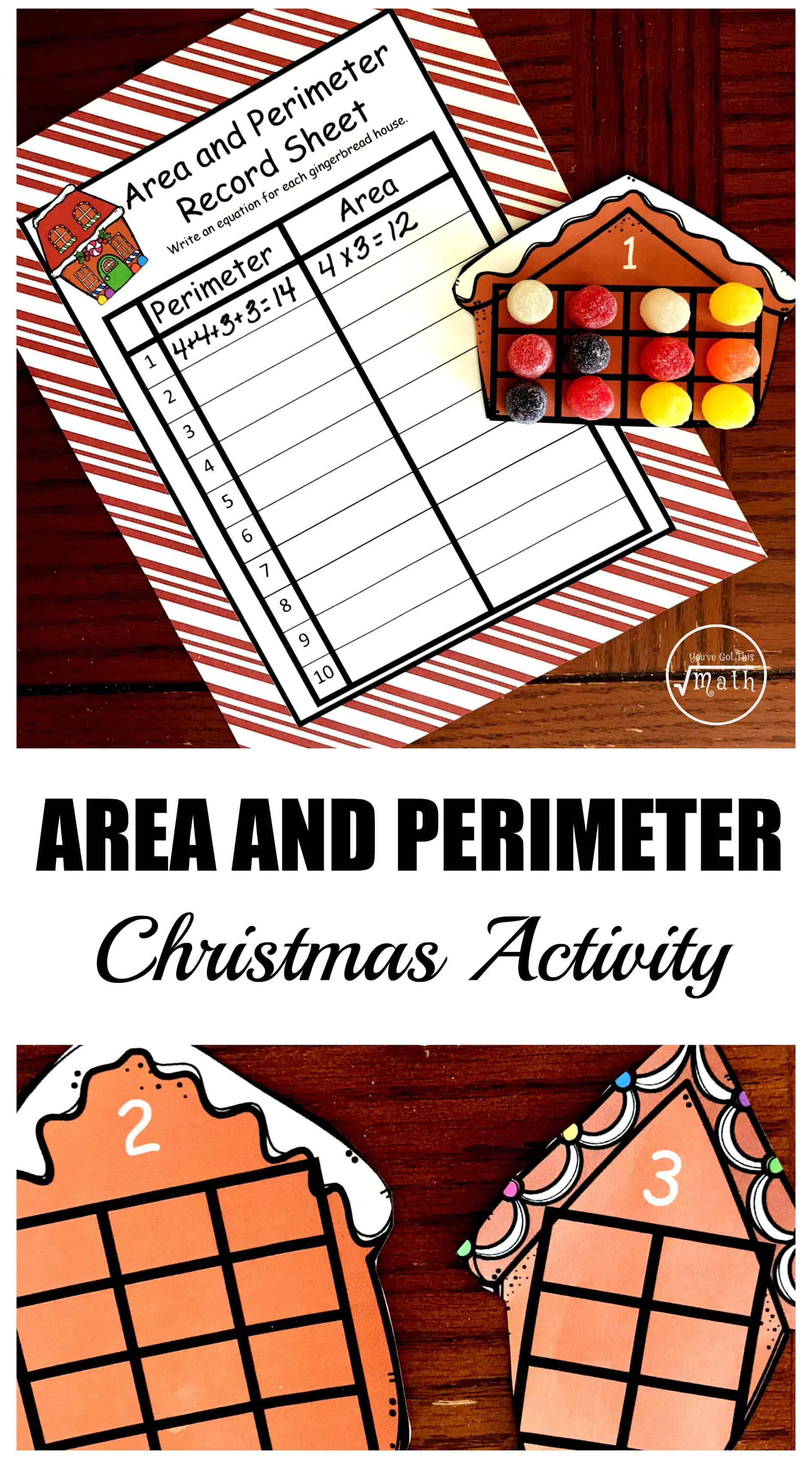 This free Christmas themed area and perimeter activity has children placing Gum Drops in squares to help children visualize this concept.