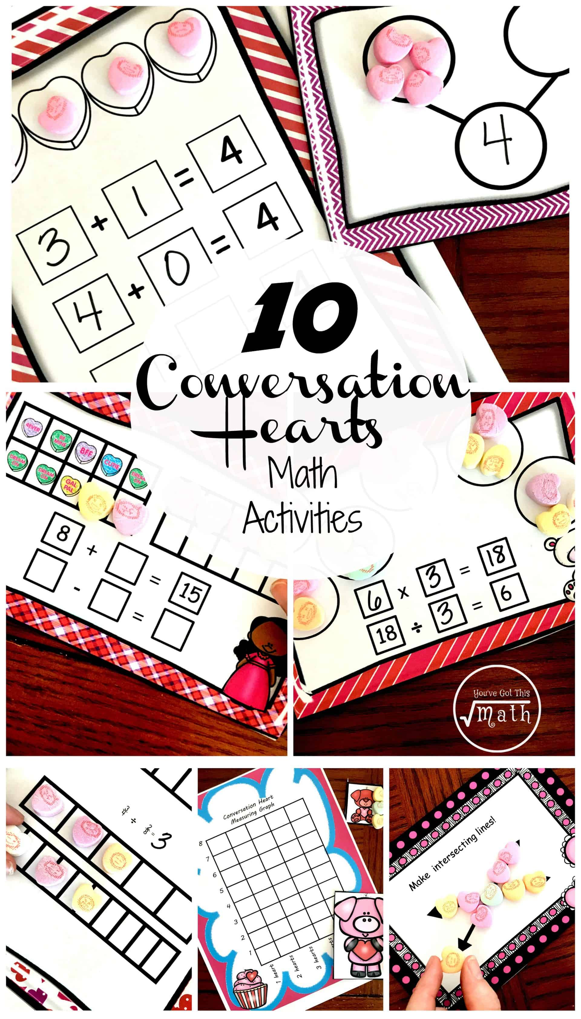 10 Valentine Math Activities Using Conversation Hearts For K Through 5th  Graders