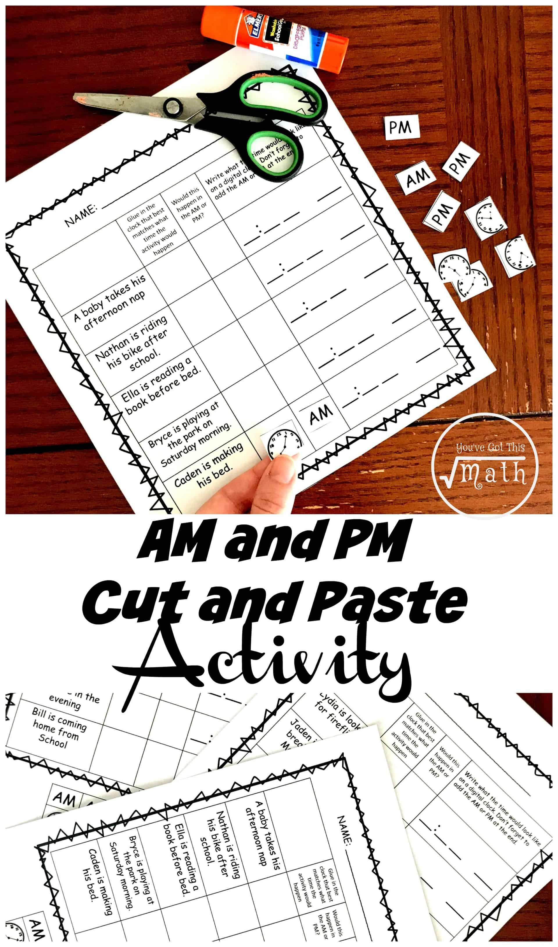 These am and pm worksheets have children figuring out times they would perform an activity and if it would be am or pm. While working on the worksheet they will also be reading analog clocks in five-minute increments.