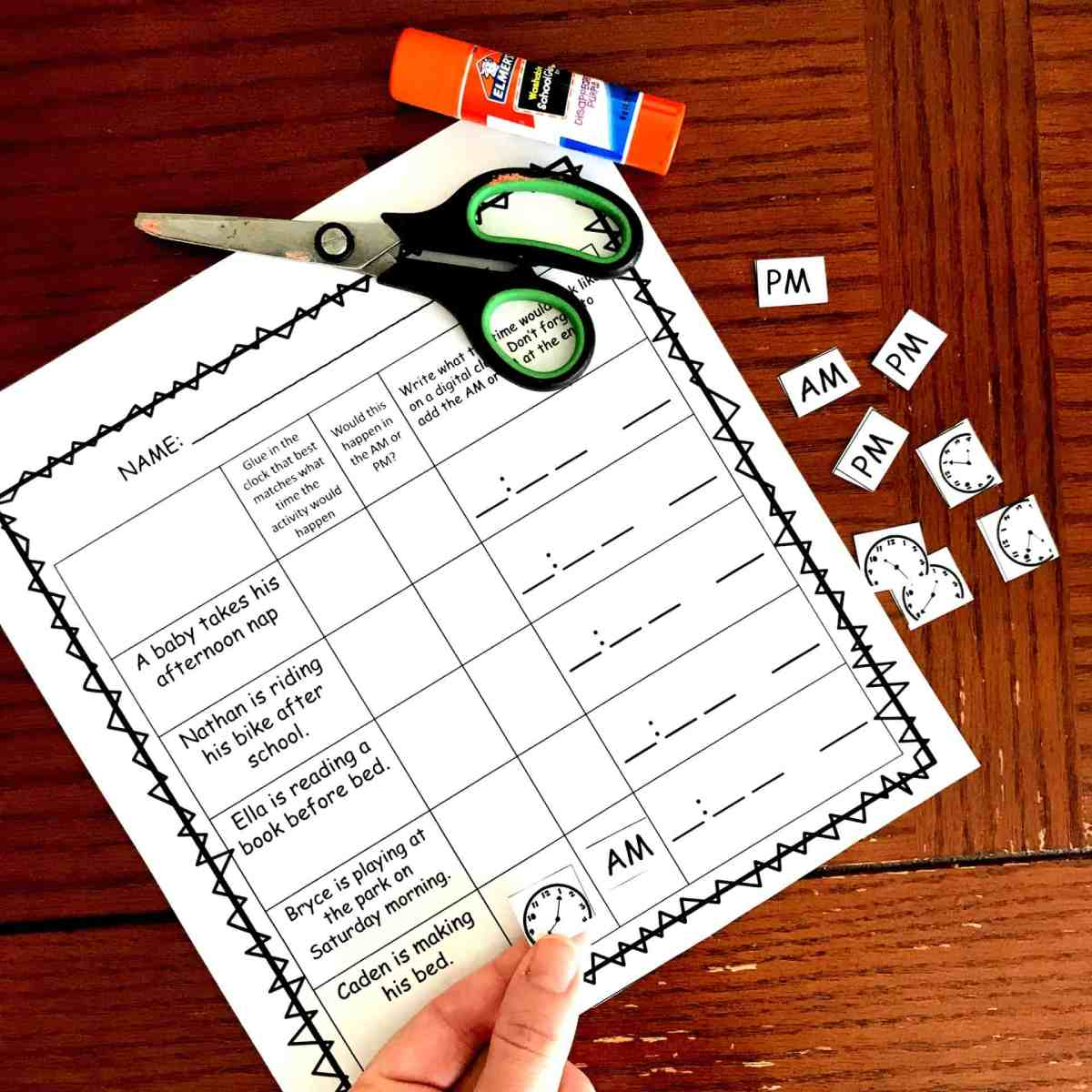 3 No-Prep Cut and Paste AM and PM Worksheets