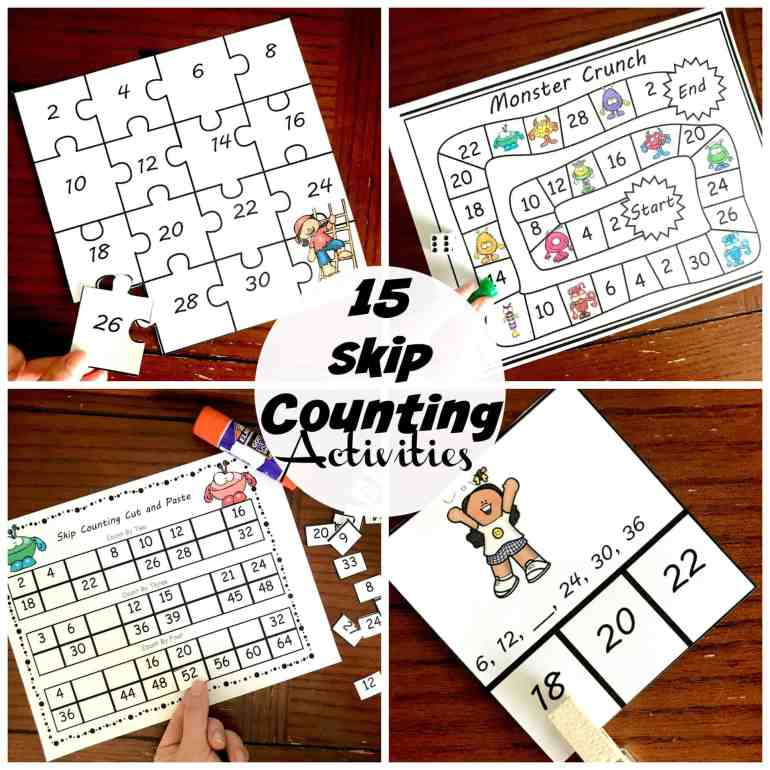 Grab some skip counting worksheets free! These cut and paste activities are a wonderful way for children to practice their skip counting skills. They also have all the numbers for the new math memory work for Classical Conversations.
