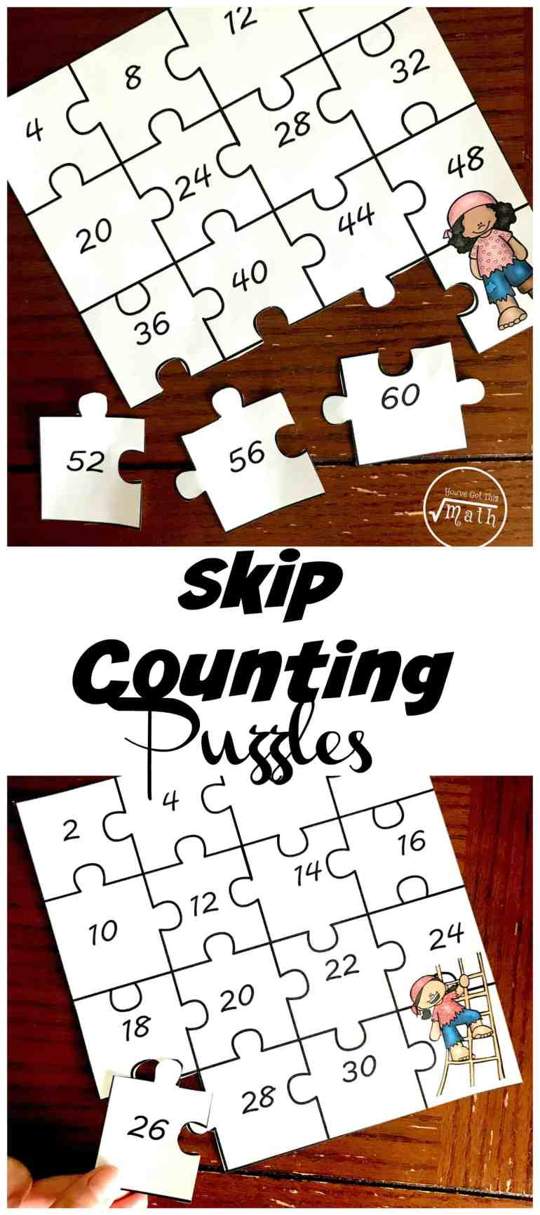 Do your children love puzzles? Then these skip counting puzzles are a wonderful way to practice skip counting and build some schema for multiplication times tables.