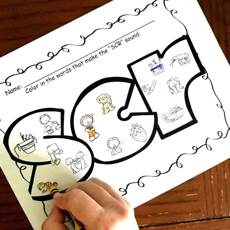 6 Coloring Consonant Cluster Worksheets For Trigraphs Such As Spr Squ