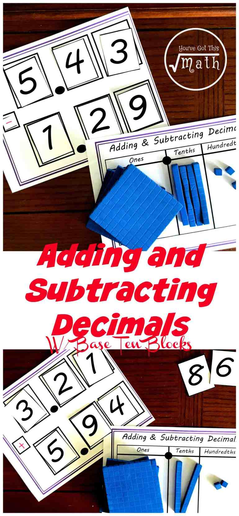 practice addition and subtraction of decimals with this hands-on