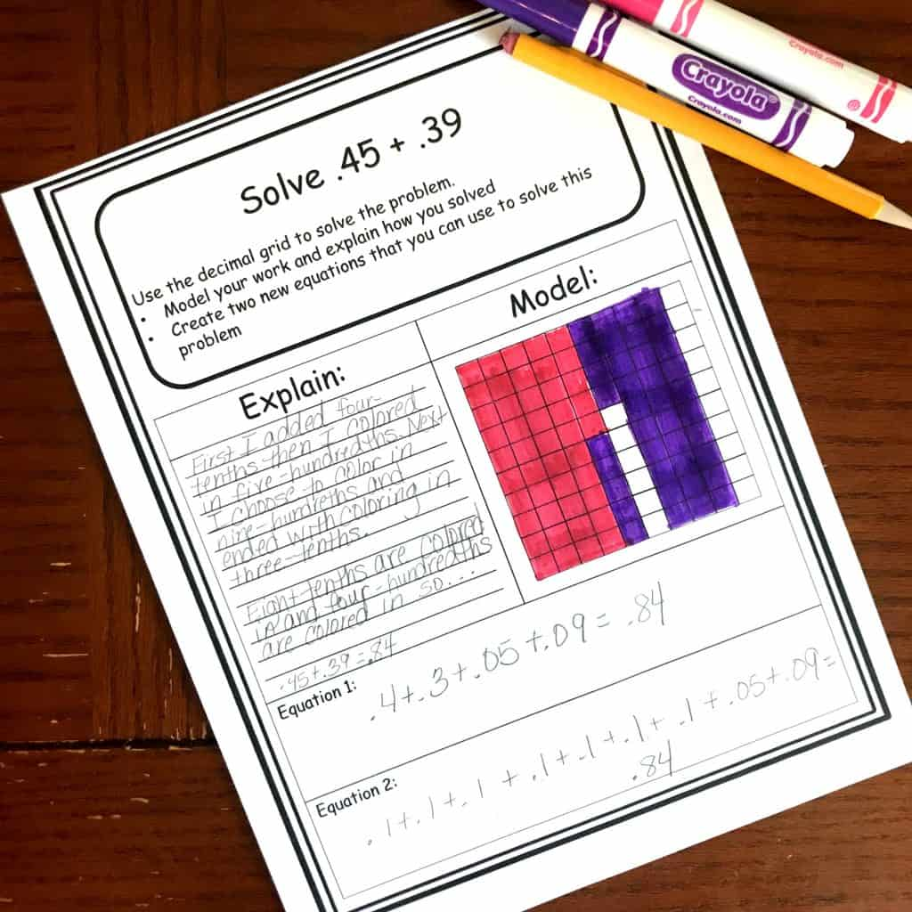 Free Decimal Addition And Subtraction Worksheets Using Models
