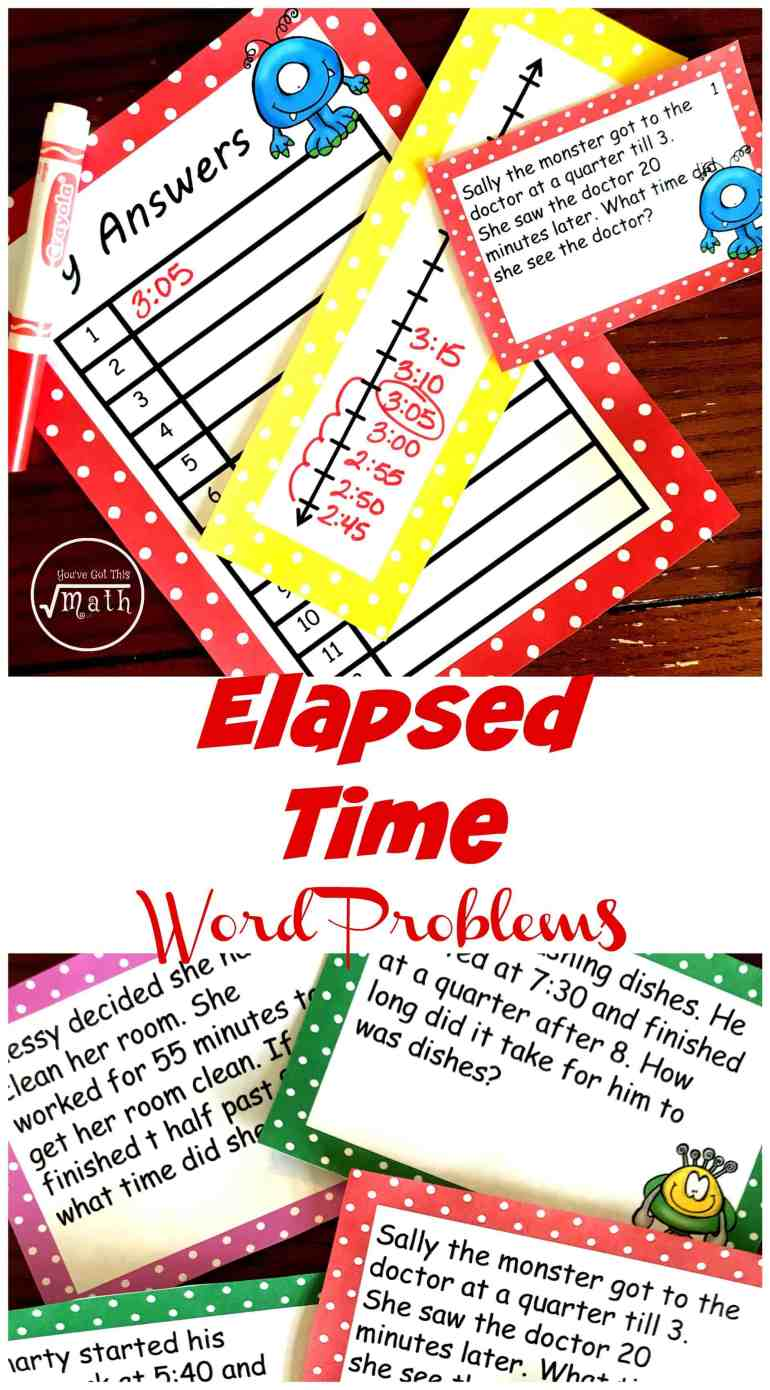 Need some elapsed time word problems? These 12 monster themed problems will get children working through this concept using a number line!