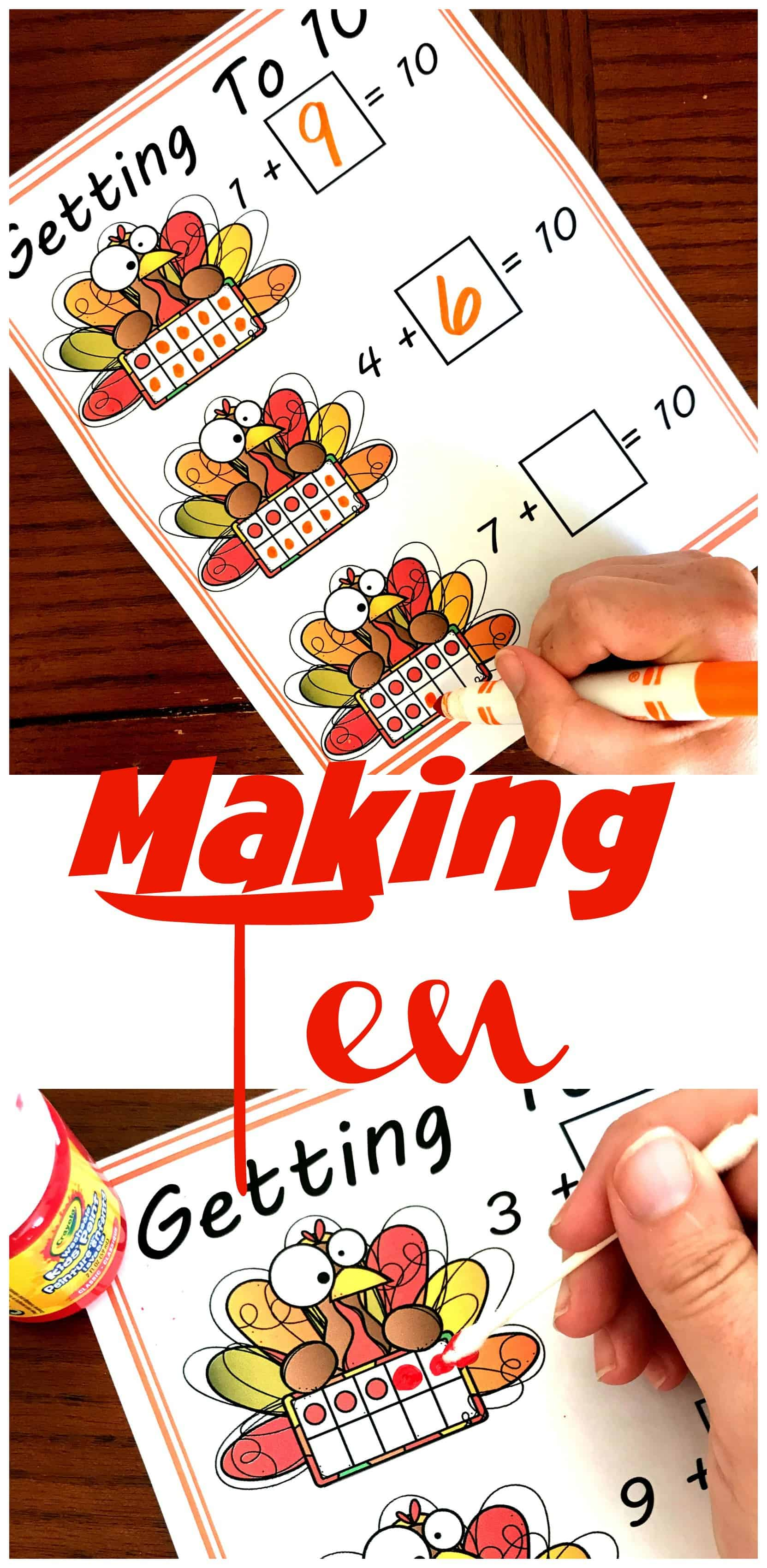 These turkey ten frames are a great way to make 10. Fill in the ten frames and then solve the equations to find all the combinations of 10.