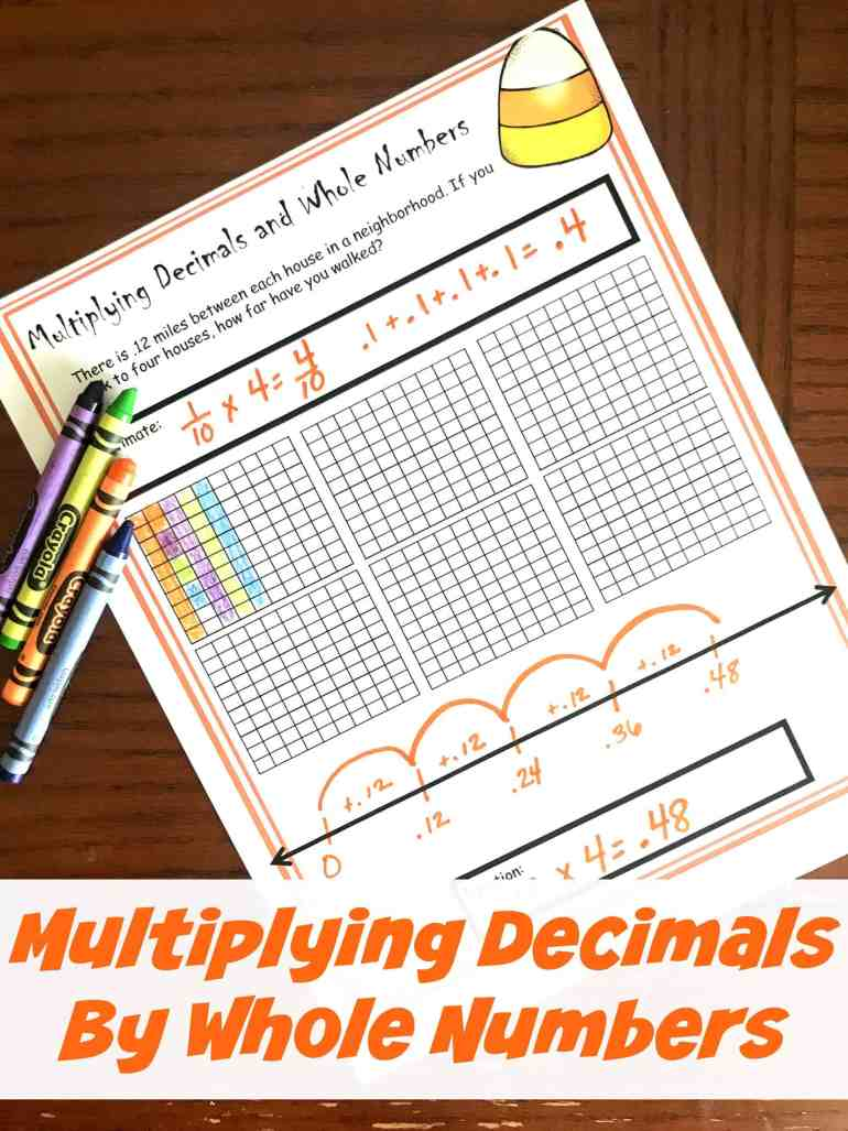 This multiplying decimals by whole numbers worksheet have children coloring in decimal grids and working on the number line to solve word problems.
