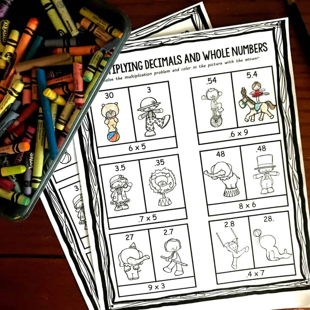 Free Multiplying Decimals And Whole Numbers Coloring Worksheet