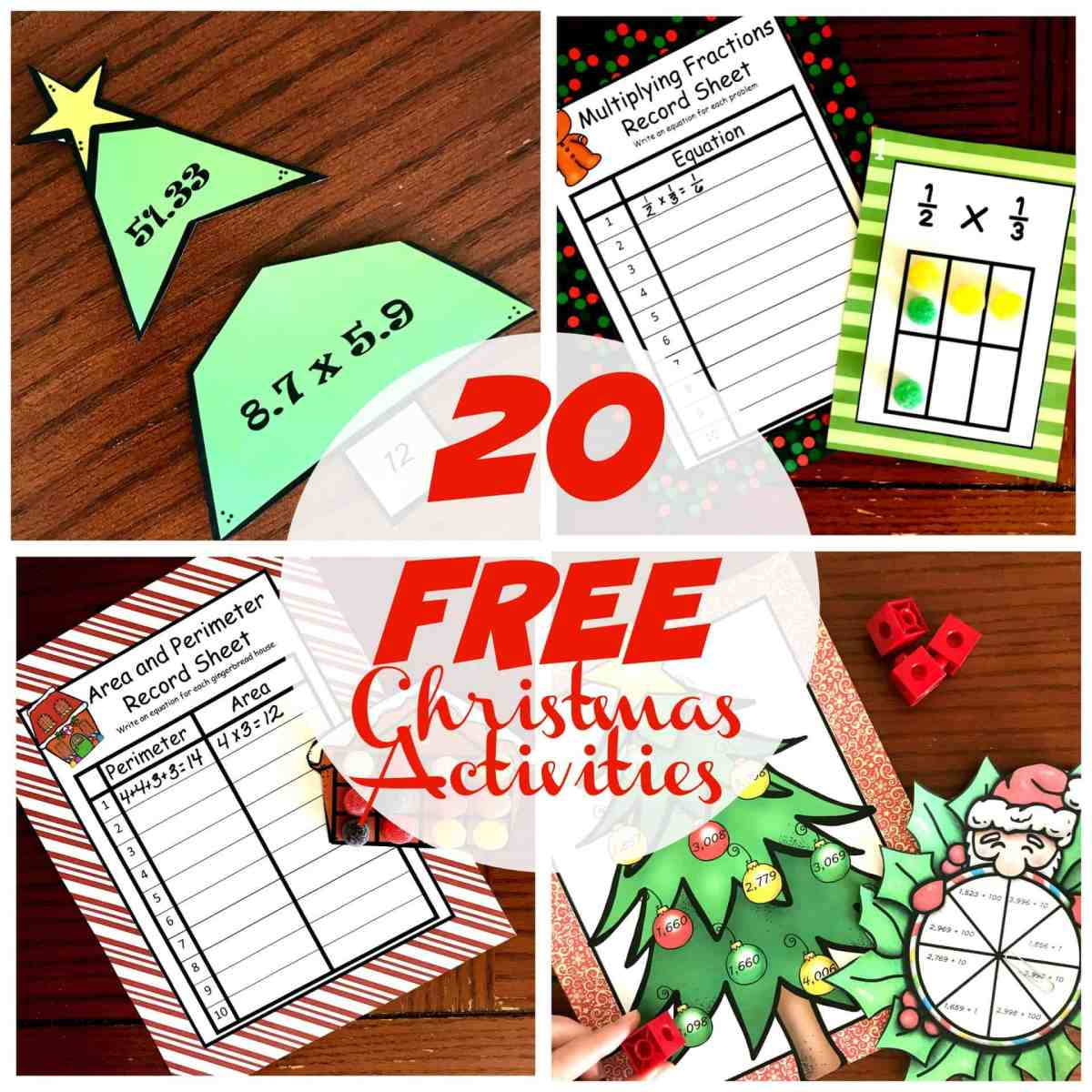 20 FREE Christmas Math Activities for K - 5th Grade
