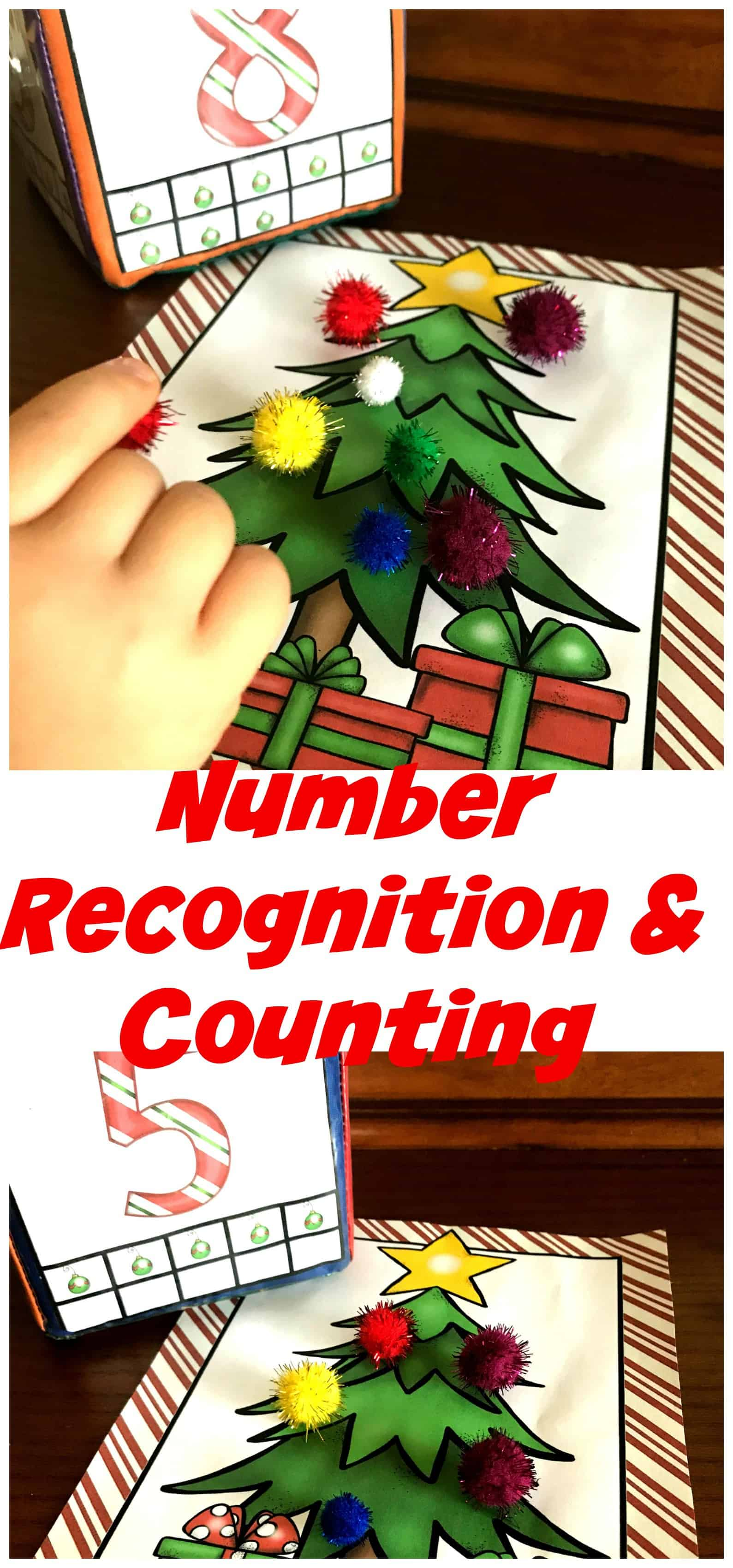 Grab this FREE Christmas themed counting activity for preschoolers. It is a fun hands-on way to work on numbers recognition and one to one correspondence.