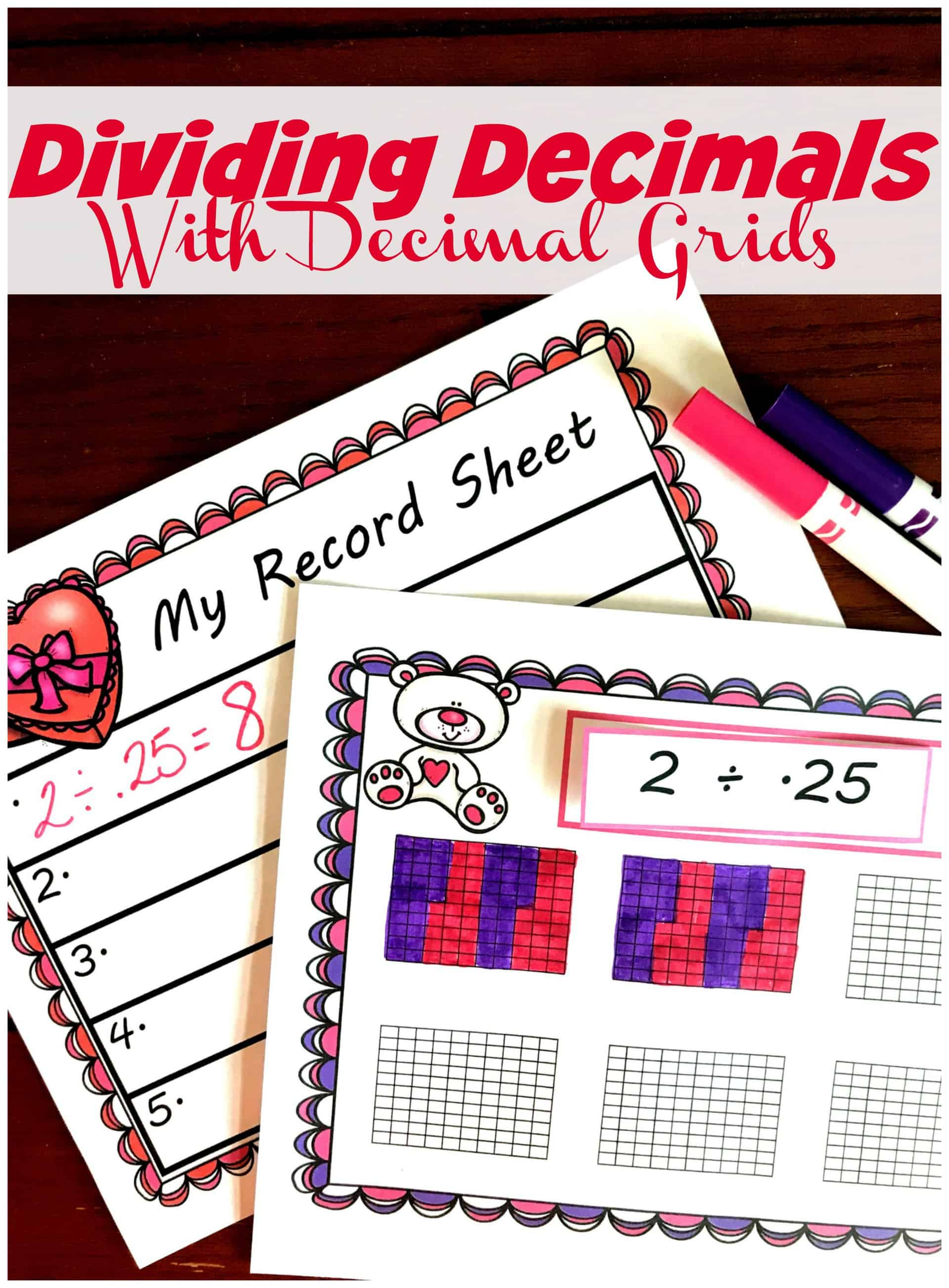 You'll love this free dividing whole numbers by decimals worksheet with a Valentine's Day theme. Children solve division problems by coloring in decimal grids and then record the answer.