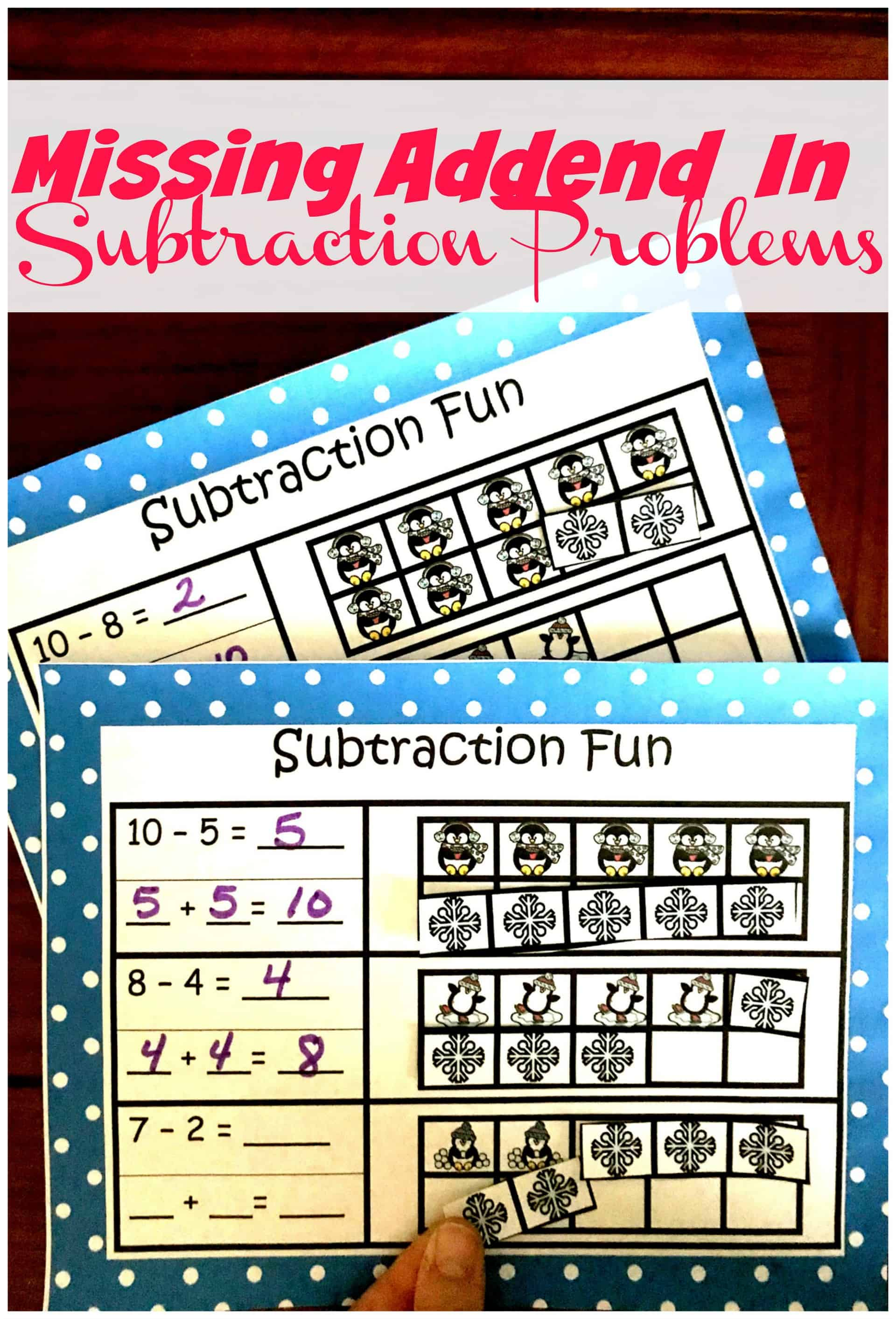 Help children understand counting on or missing addend in a subtraction problem with this no-prep cut and paste sheet. They will begin to understand subtraction as an unknown-addend problem. For example, For subtract 12 - 7 by finding the number that makes 12 when added to 7.