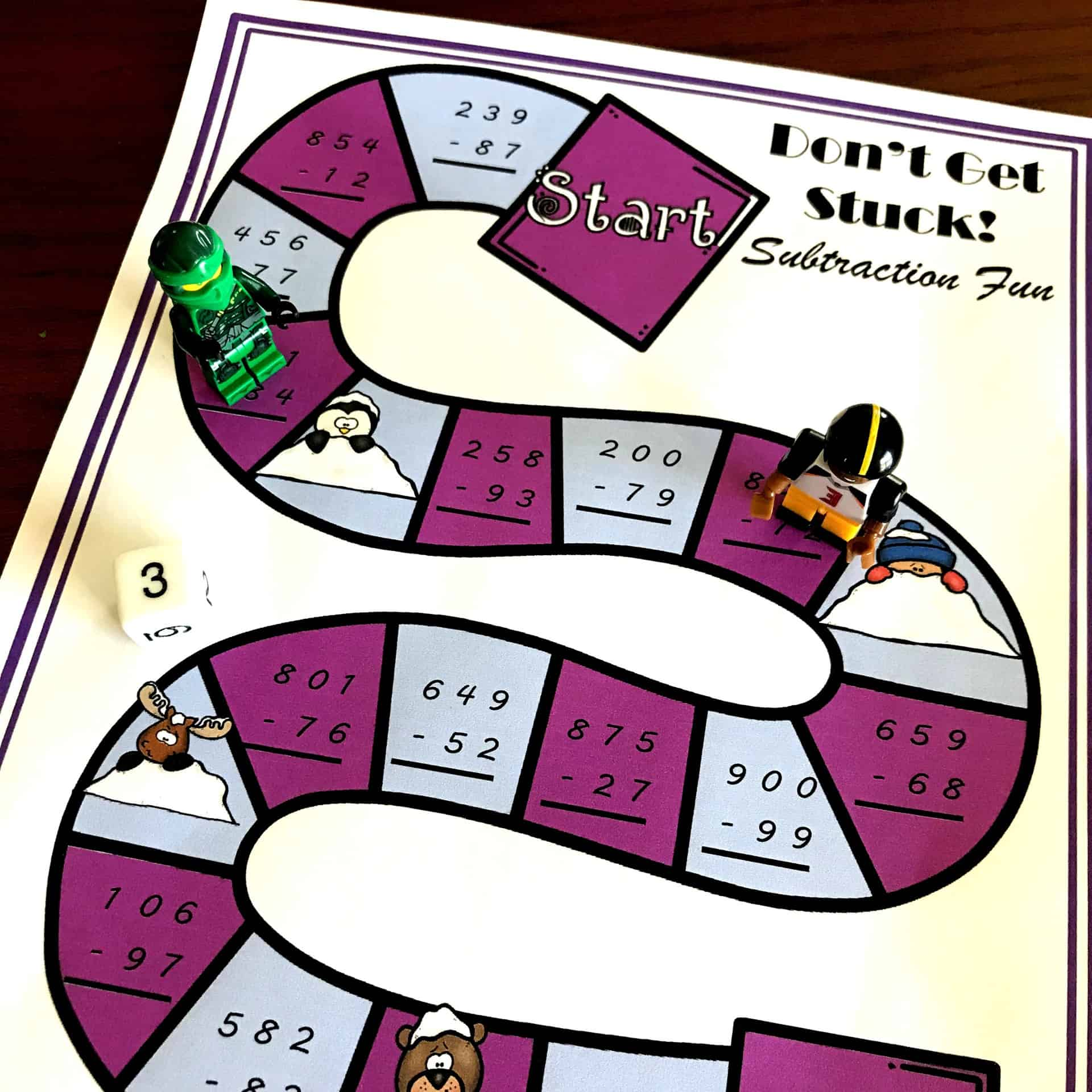 image relating to Subtraction With Regrouping Games Printable named Free of charge No-Prep Subtraction with Regrouping Video game