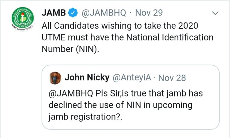 NIN for jamb