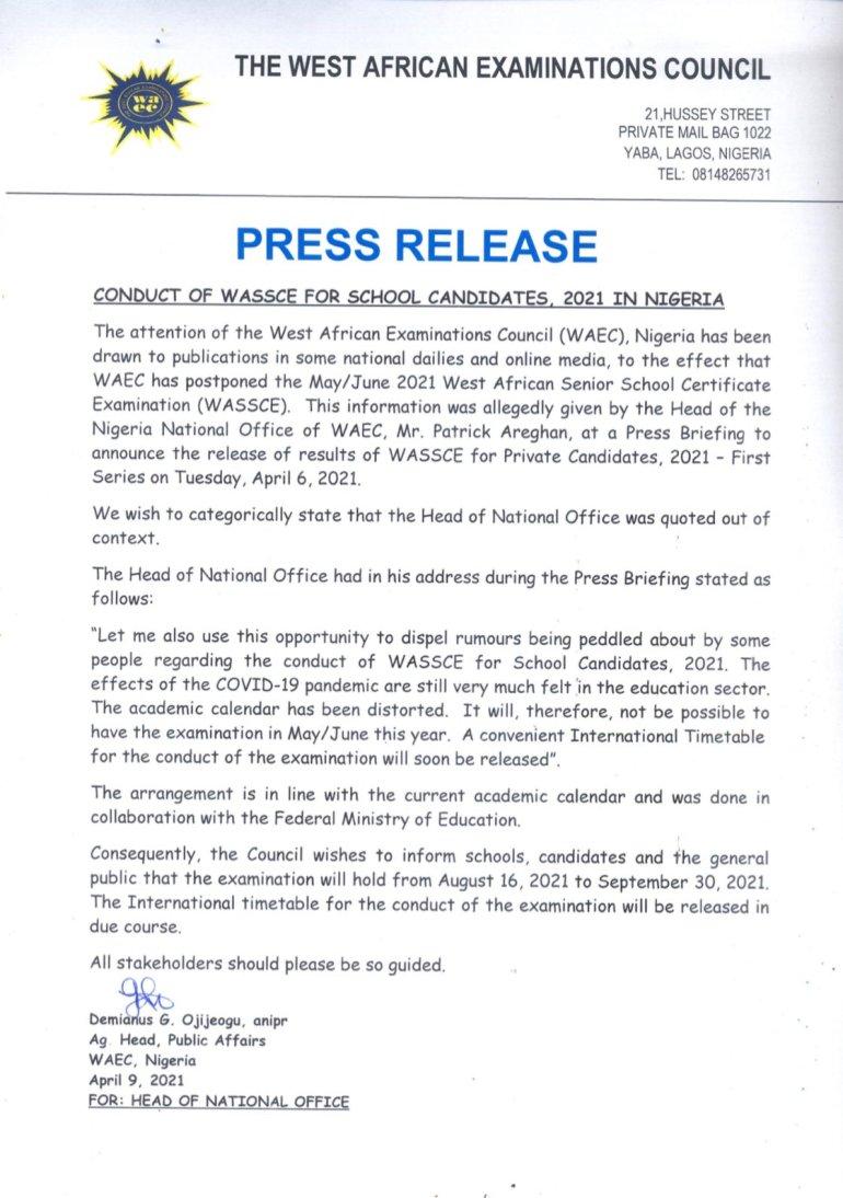 Waec postpone exam