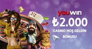 Youwin 2000 TL casino hoş geldin bonusu.