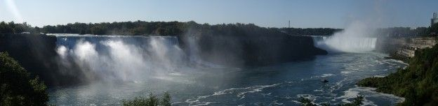 Un panorama photo des chutes du Niagara coté canadien photo blog voyage tour du monde https://yoytourdumonde.fr
