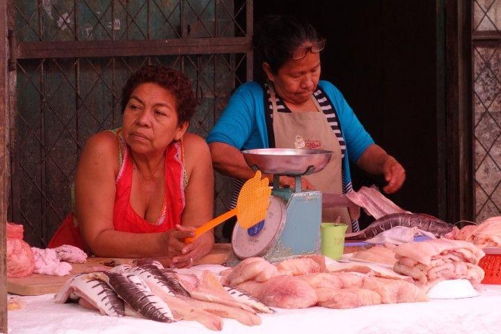 Perou-Iquitos: Marché de Belen, le stand poissons!