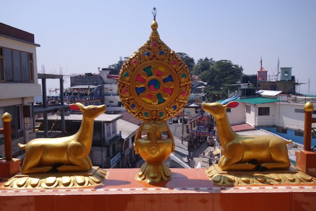 Les insignes tibétains dans le temple tibétains de Kalachakra Temple à Dharamsala photo blog voyage tour du monde https://yoytourdumonde.fr