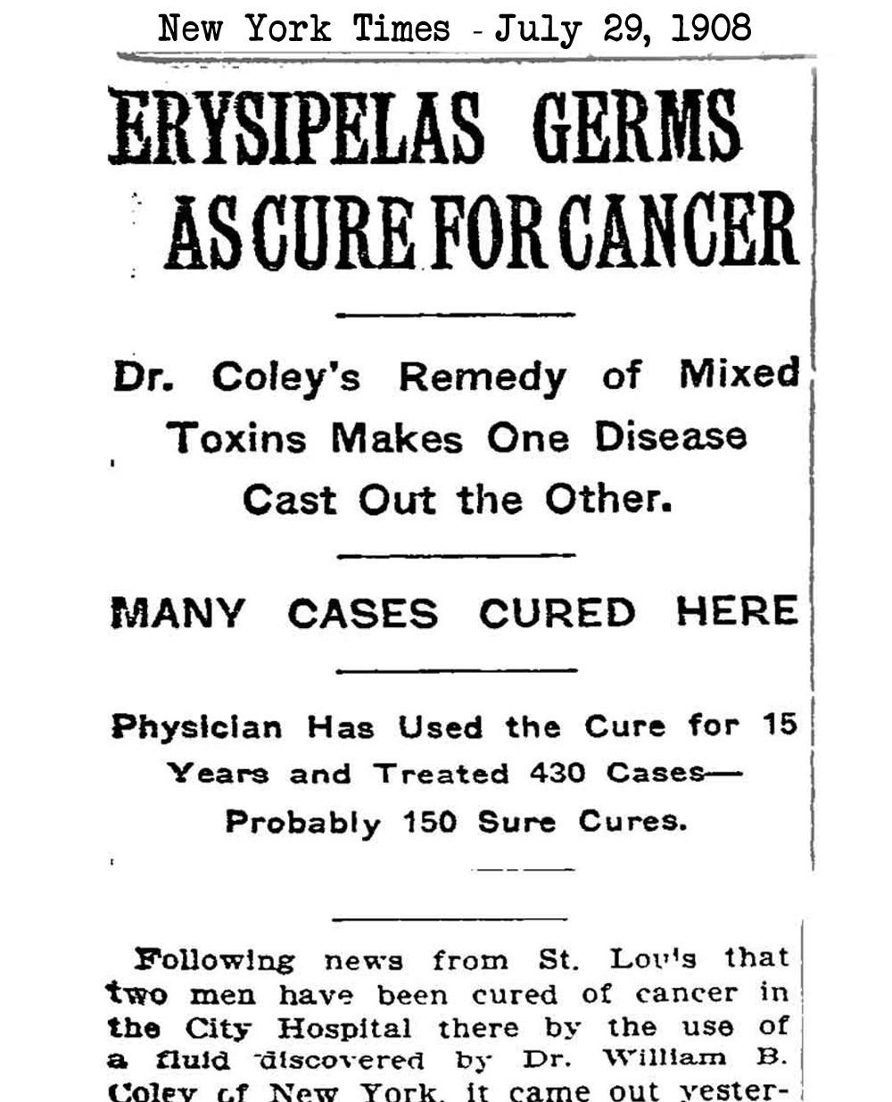 Υπερθερμία: Κλινικές μελέτες - Coley's toxin