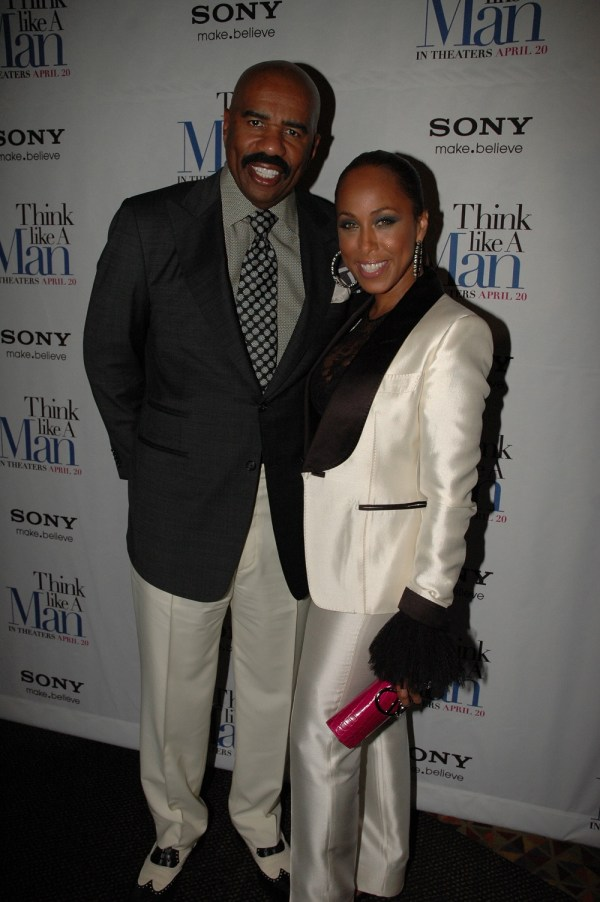 "Steve Harvey with wife Marjorie rszd - ""Think Like a Man"" Makes Promotional Stop in NYC"