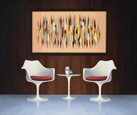 TulipChairsandPaintingsized 540x453 - Danny Heller - Birth of the Cool Exhibit November 5 – December 7, 2019 at George Billis Gallery @Danny_Heller