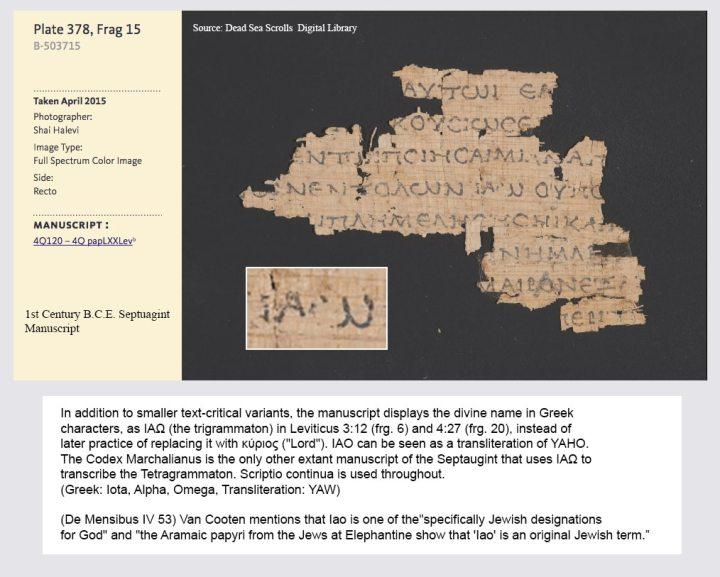 yahweh, dead sea scrolls, iao, yehovah, yahu, greek,