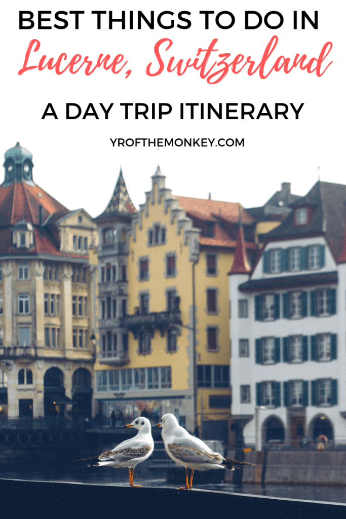 Looking for things to do on a day trip to Lucerne? Then read this post on what to do in this beautiful Alpine Swiss town and how to get there from Basel via train. #Lucerne #daytrip #Europe #Trainride #Switzerland #Swisstown #summervacation