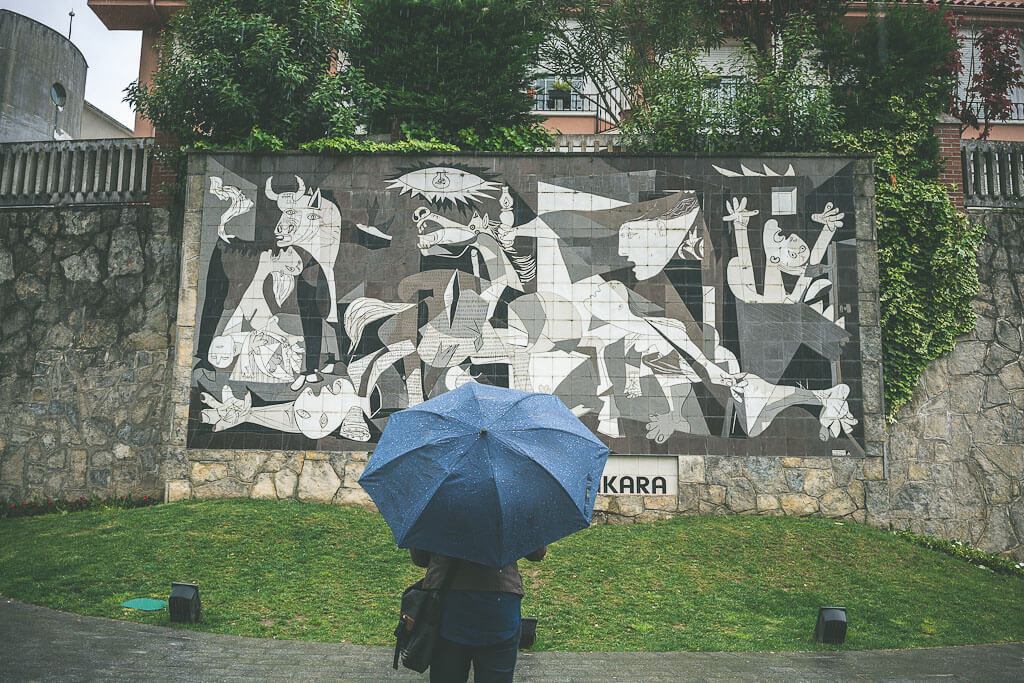 Basque town of Guernica with Picasso's Guernica painting. This is a must visit stop in the Basque region from Bilbao to San Sebastian and must be on your Spain road trip.