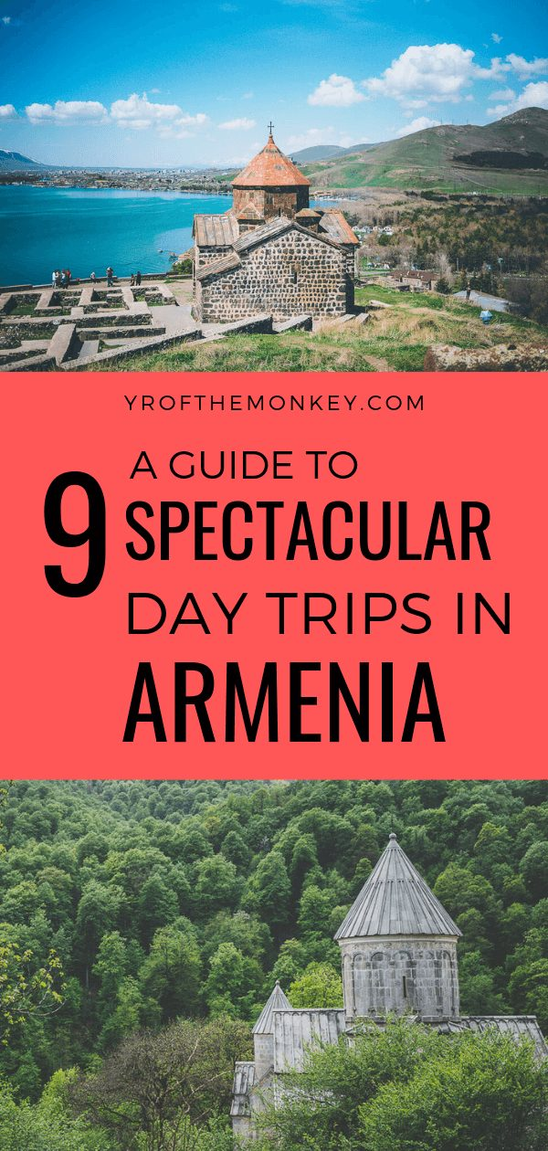 This is a guide to 9 spectacular landmarks, monasteries and places to visit in Armenia as day trips from Yerevan, the capital city. Includes details on top attractions to visit, tour and transportation options. Pin this to your Eurasia or Asia board now! #armenia #daytrips #roadtrips #armenianmonasteries #asia #eurasia