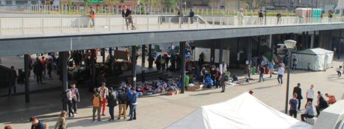 Refugiados en la estación Keleti de Budapest